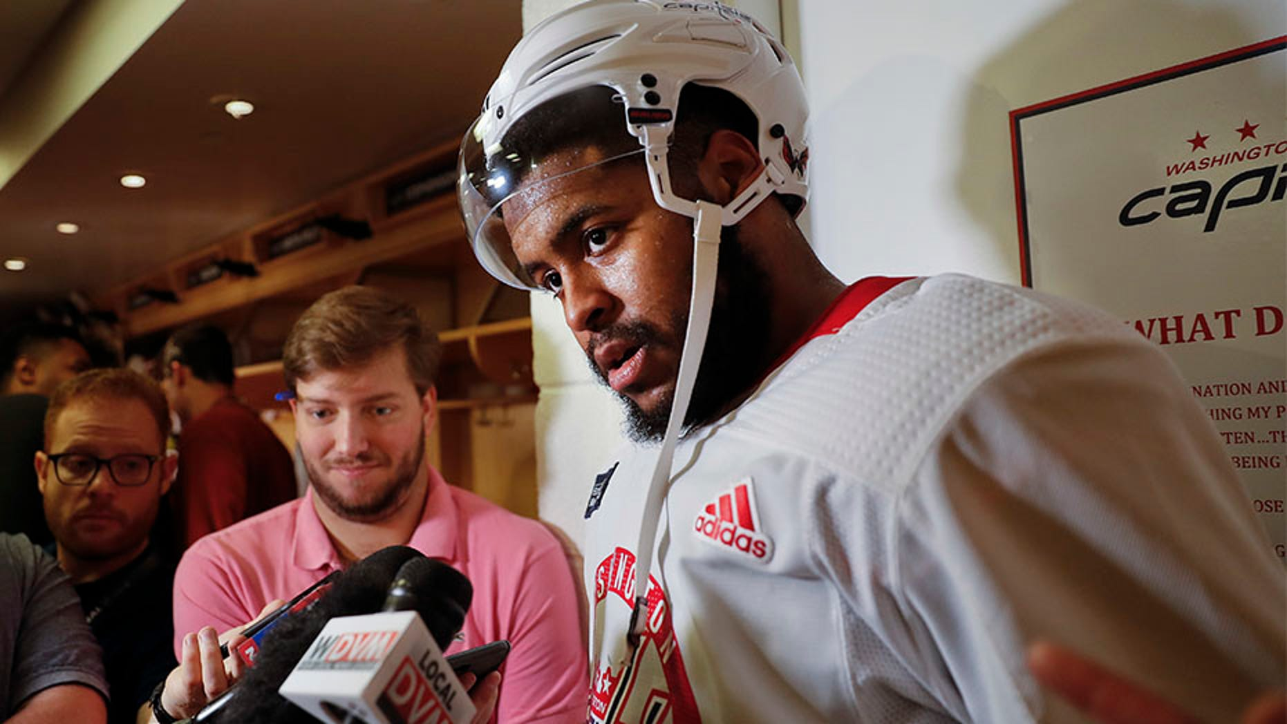 June 1, 2018: Washington Capitals right wing Devante Smith-Pelly, answers questions for members of the media following practice in Arlington, Va.