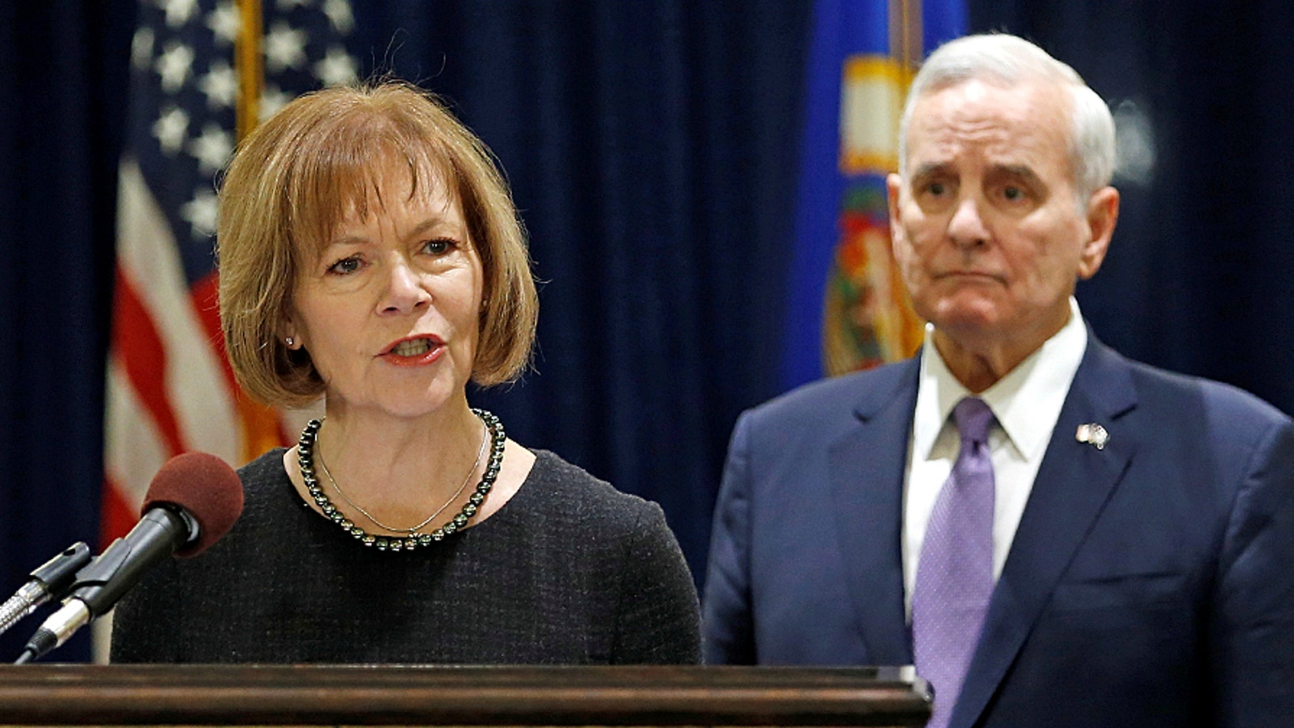 Minnesota Lt. Gov. Tina Smith answers a question after Minnesota Gov. Mark Dayton (D) announced Smith to replace U.S. Sen. Al Franken at the State Capitol in St. Paul, Minn., on Dec. 13, 2017.  (REUTERS)