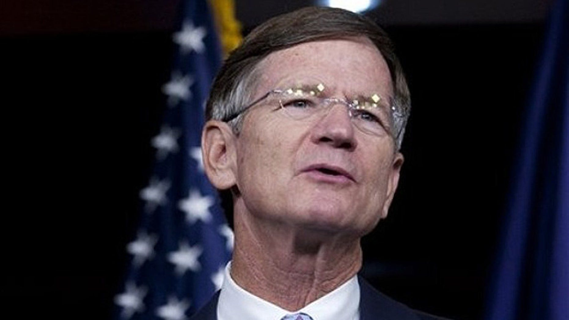 Aug. 10: Rep. Lamar Smith, R-Tex. , speaks during a news conference on Capitol Hill in Washington, announcing a resolution condemning the Proposition 8 decision in California on same-sex marriage. On Wednesday, Smith called on the Obama administration to secure the U.S.-Mexico border following the murder of a U.S. Border Patrol agent.  (AP)
