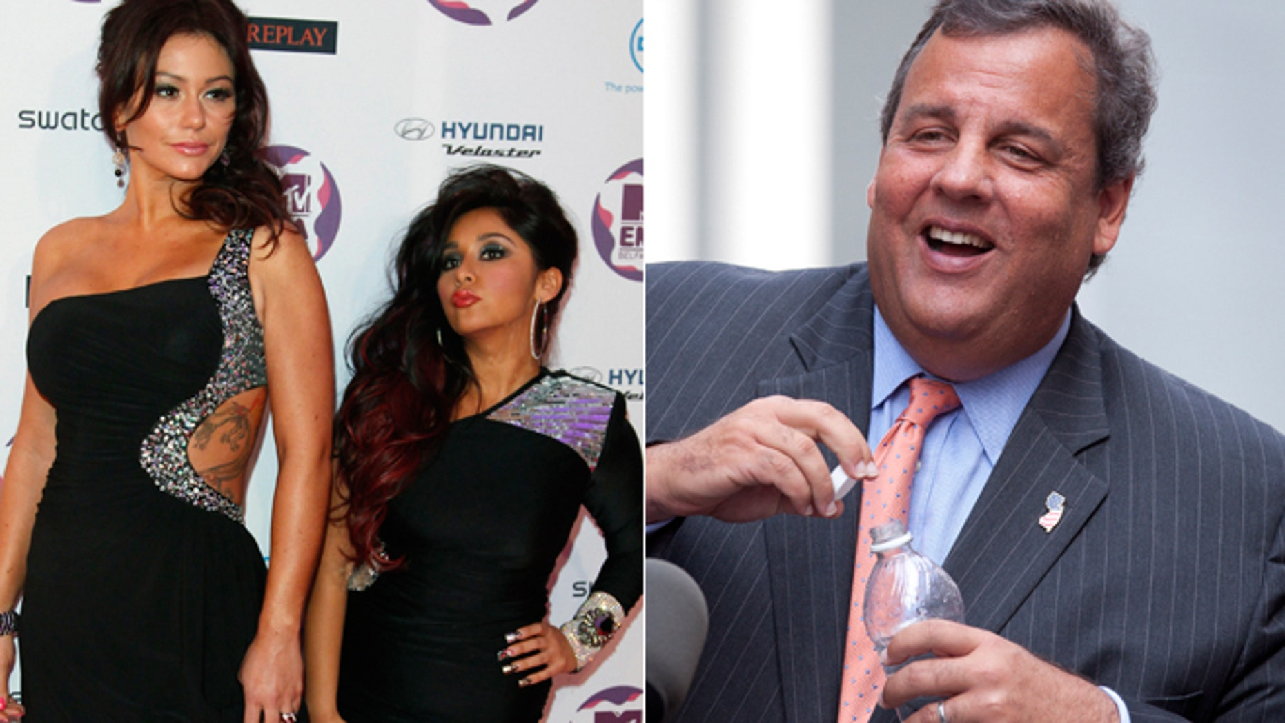 "Nicole ""Snooki"" Polizzi and Jenni ""Jwoww"" Farley are pictured next to New Jersey Governor Chris Christie."