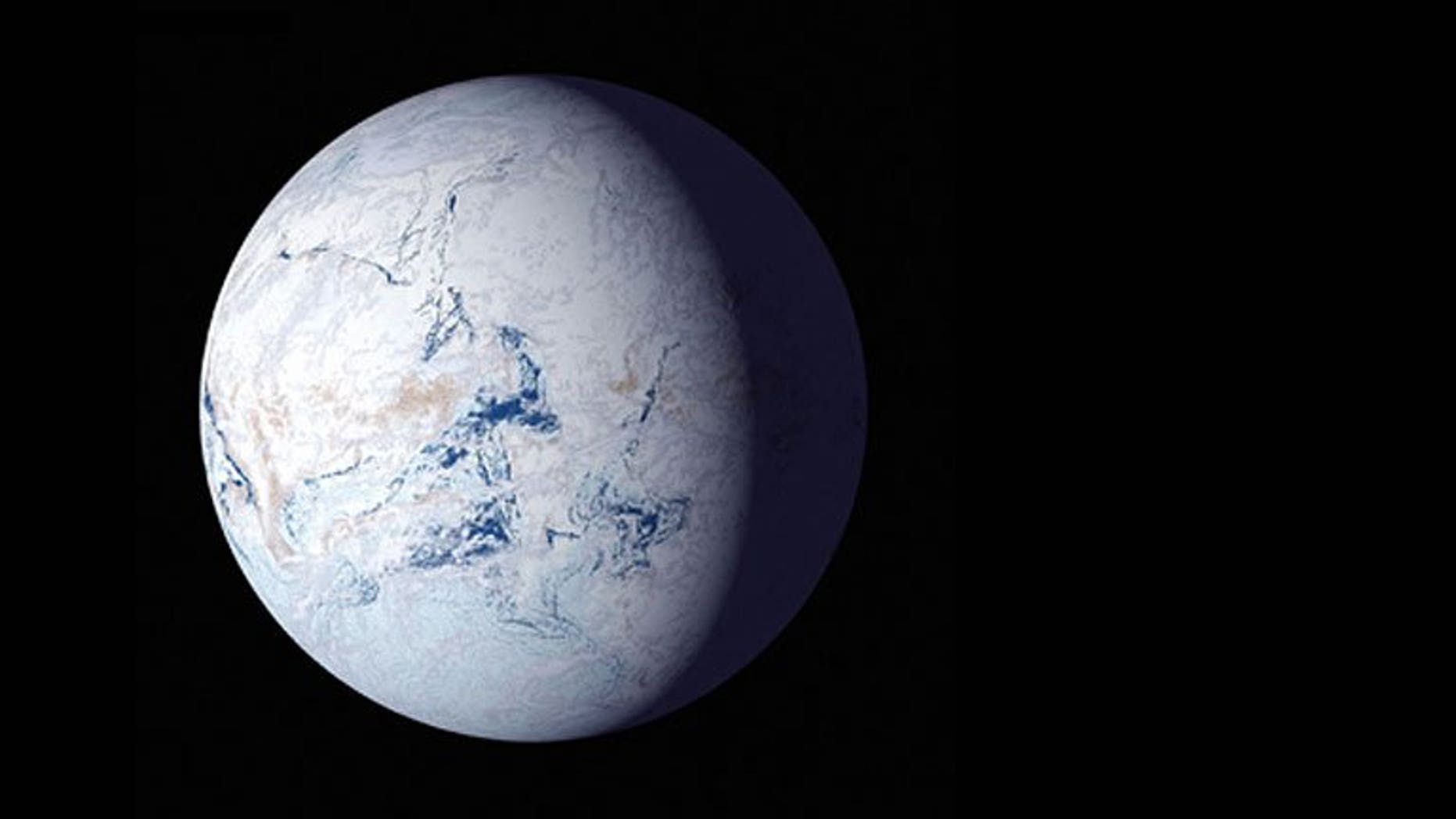 """A NASA artist visualized what Earth would look like if it entered the """"snowball state"""" predicted by new research from the University of Washington."""