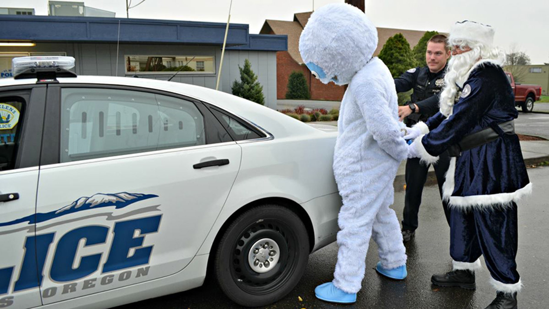 "Abominable T. Snowman was ""arrested"" Monday as part of an anti-drunk driving campaign in Oregon."
