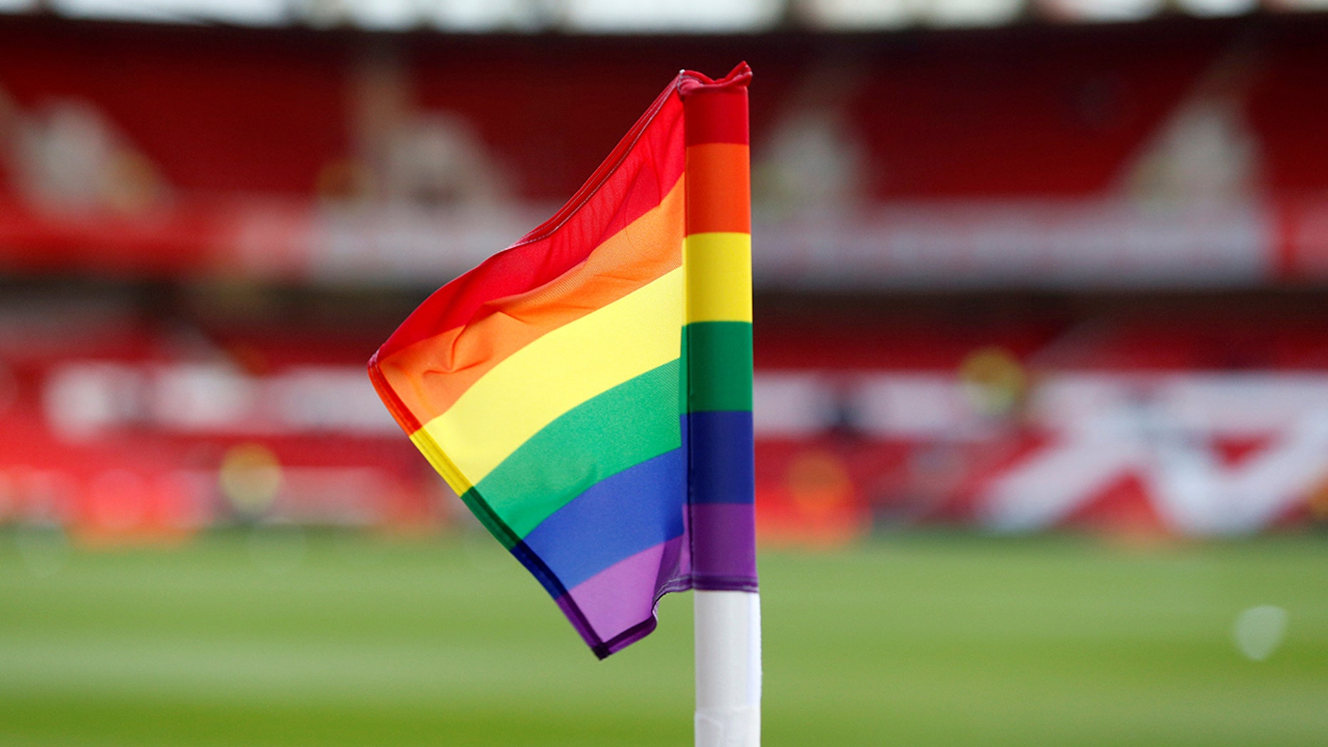 General view of a rainbow colored corner flag in support of the Stonewall Rainbow Laces campaign before the game.