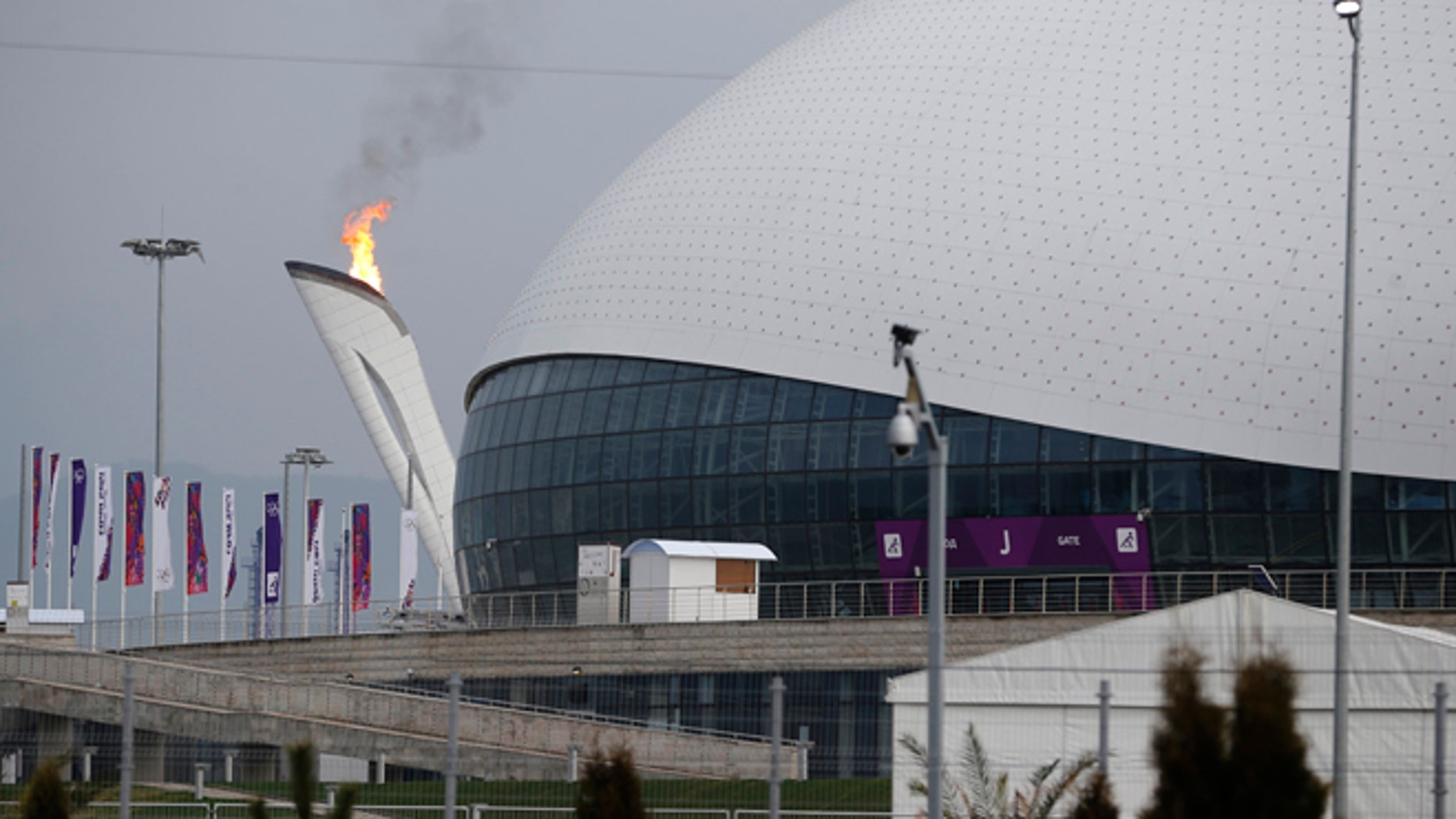 Jan. 29, 2014: The Olympic flame is lit during a test next to the Bolshoy Ice Dome before the start of the 2014 Winter Olympics in Sochi, Russia.