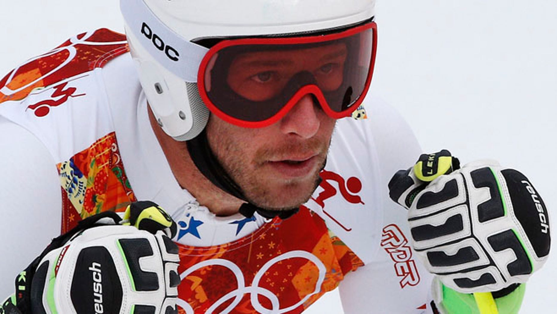 Feb. 11, 2014: United States' Bode Miller pauses in the finish area after completing Men's super combined downhill training at the Sochi 2014 Winter Olympics in Krasnaya Polyana, Russia.