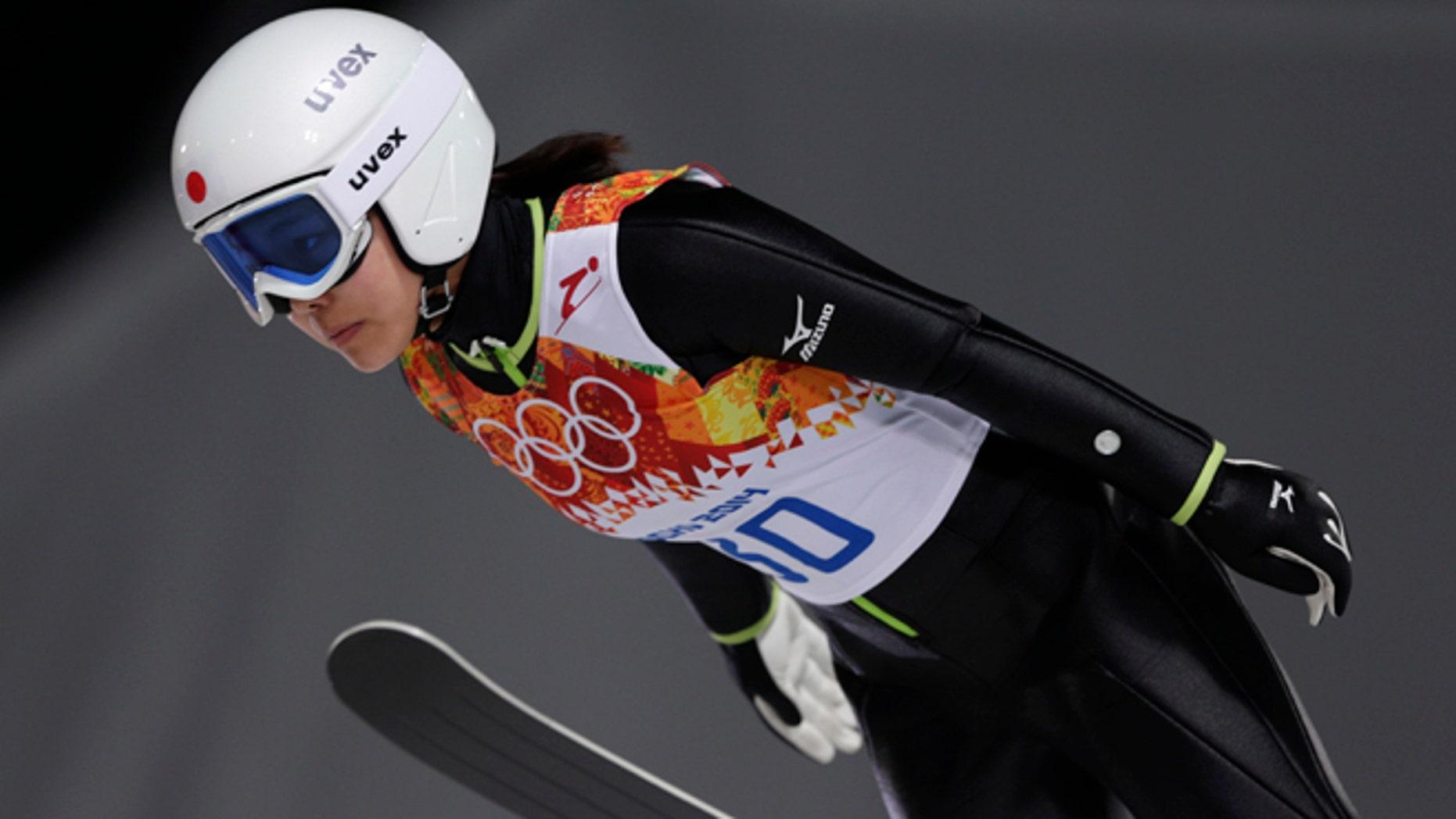 Feb. 11, 2014: Japan's Sara Takanashi makes her trial jump in the women's ski jumping normal hill final at the 2014 Winter Olympics in Krasnaya Polyana, Russia.