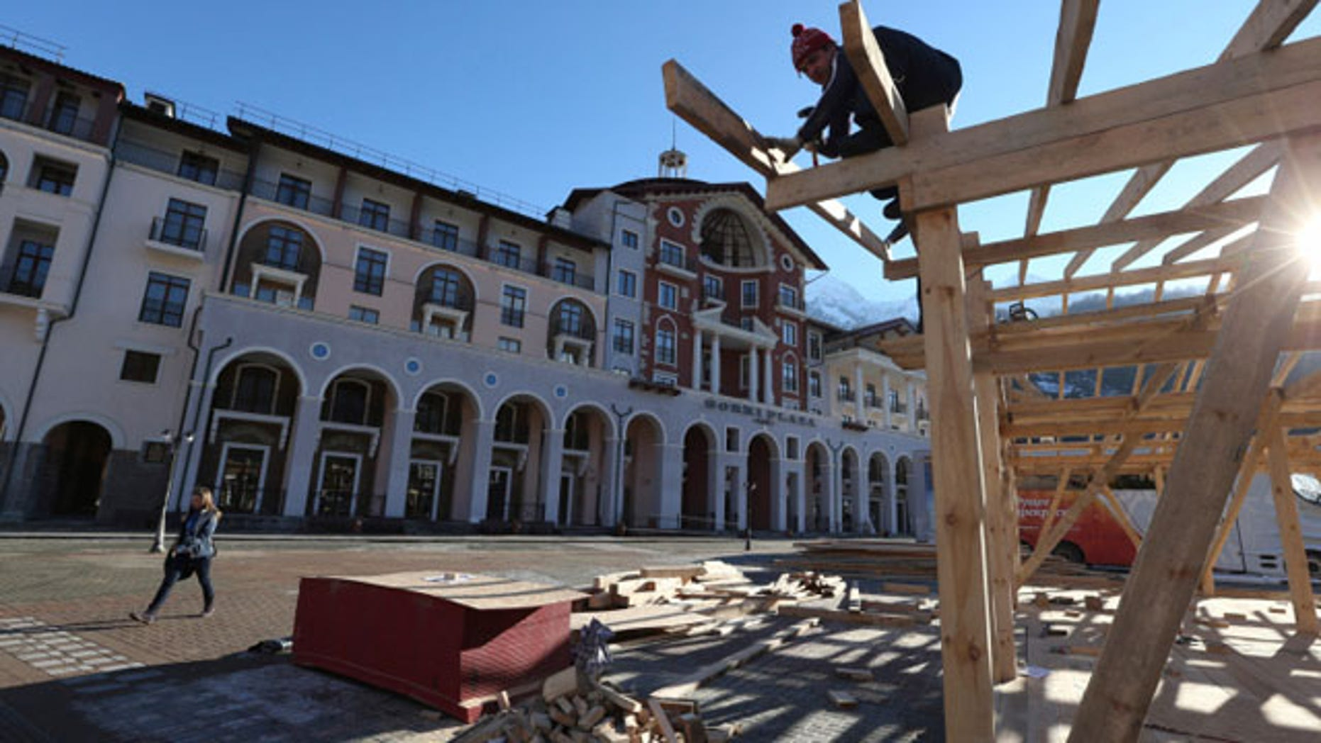 February 2, 2014: Construction work continues apace outside the Gorki Plaza East hotel in Krasnaya Polyana, Russia. (AP)