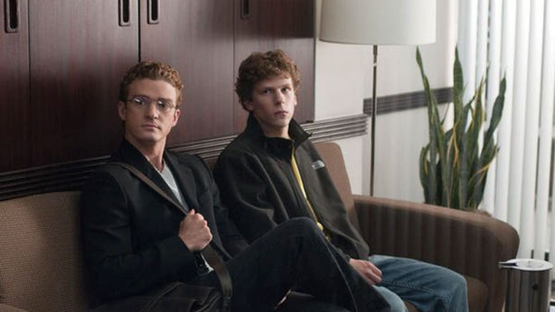 Justin Timberlake and Jesse Eisenberg in 'The Social Nework.' (Columbia)