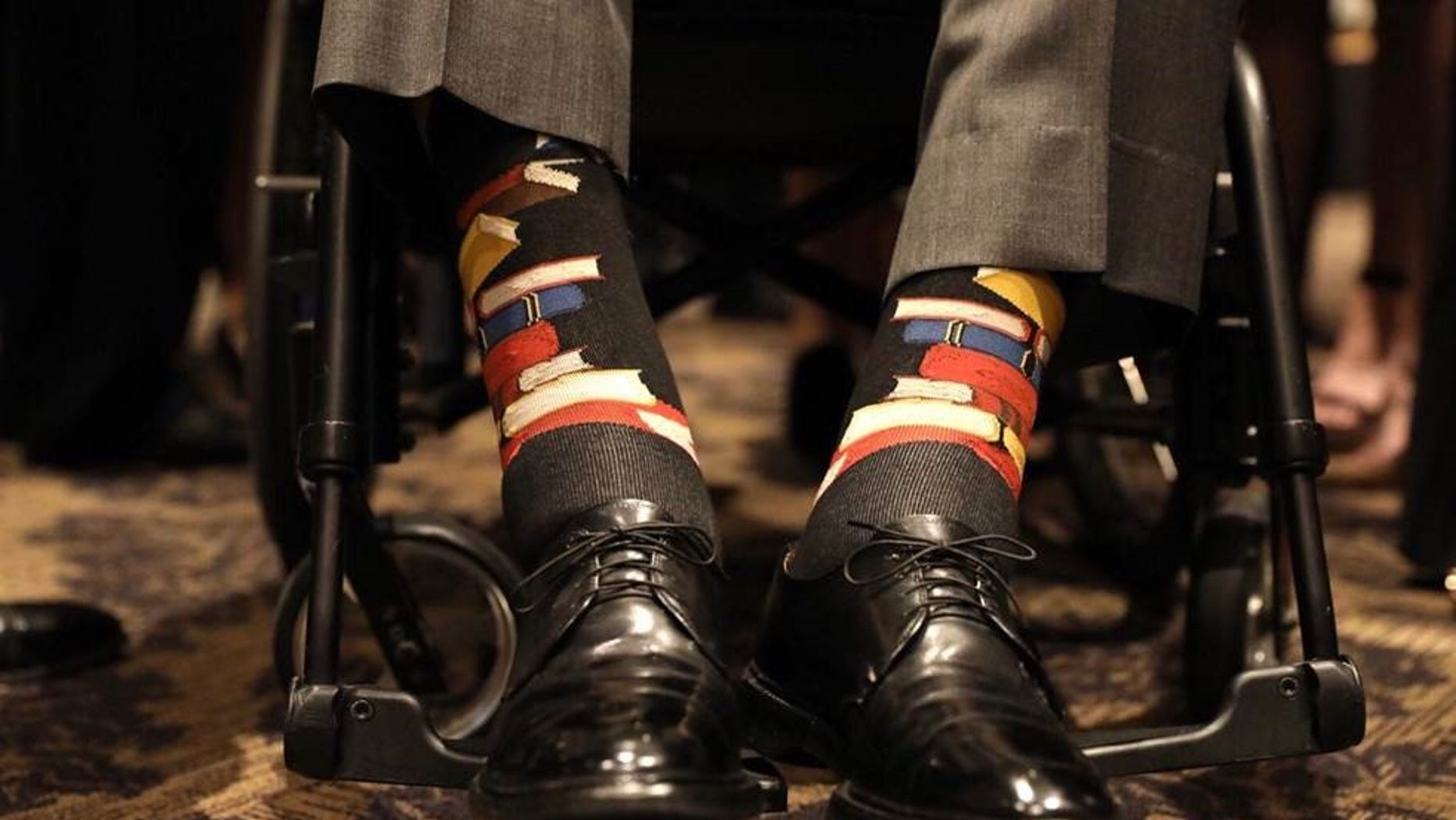 Former President George H.W. Bush wore socks with books stitched on them to honor his late wife's commitment to literacy.