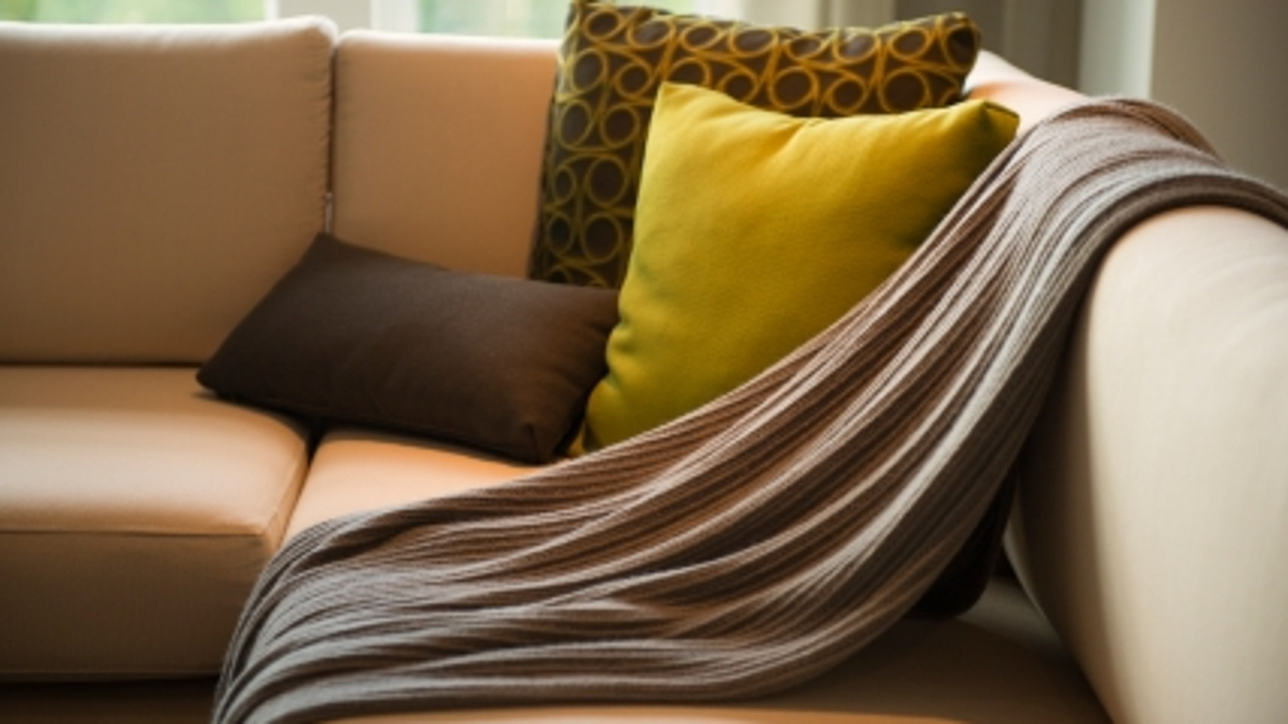 living room detail / for example a blanket / upon the sofa