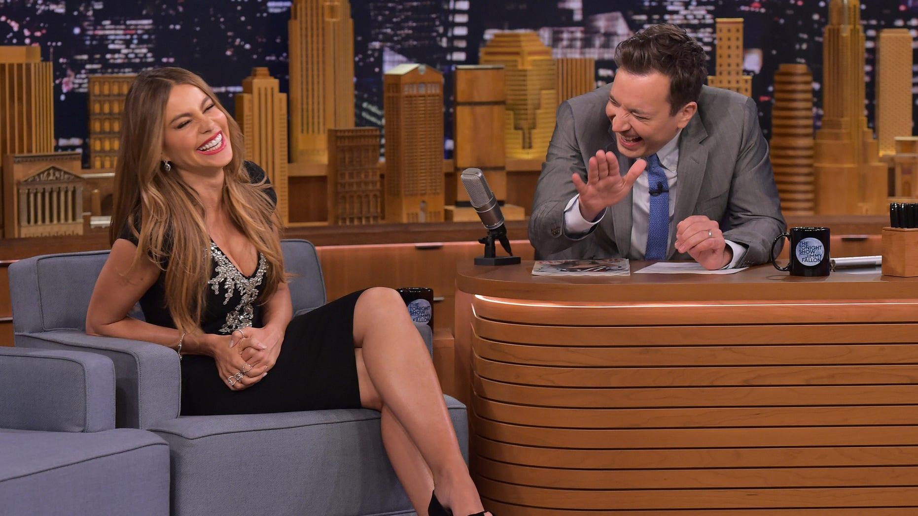 "NEW YORK, NY - MAY 05:  Sofia Vergara Visits ""The Tonight Show Starring Jimmy Fallon"" at Rockefeller Center on May 5, 2015 in New York City.  (Photo by Theo Wargo/NBC/Getty Images for ""The Tonight Show Starring Jimmy Fallon"")"