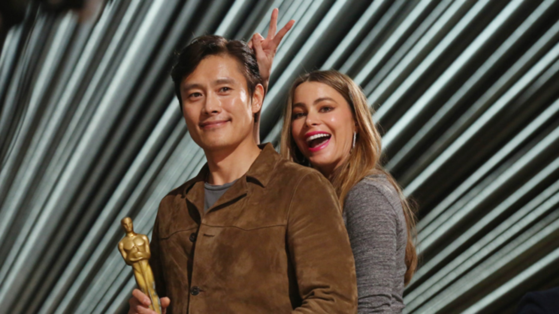 February 27, 2016. Sofia Vergara, right, and Byung-hun Lee appear during rehearsals for the 88th Academy Awards in Los Angeles.