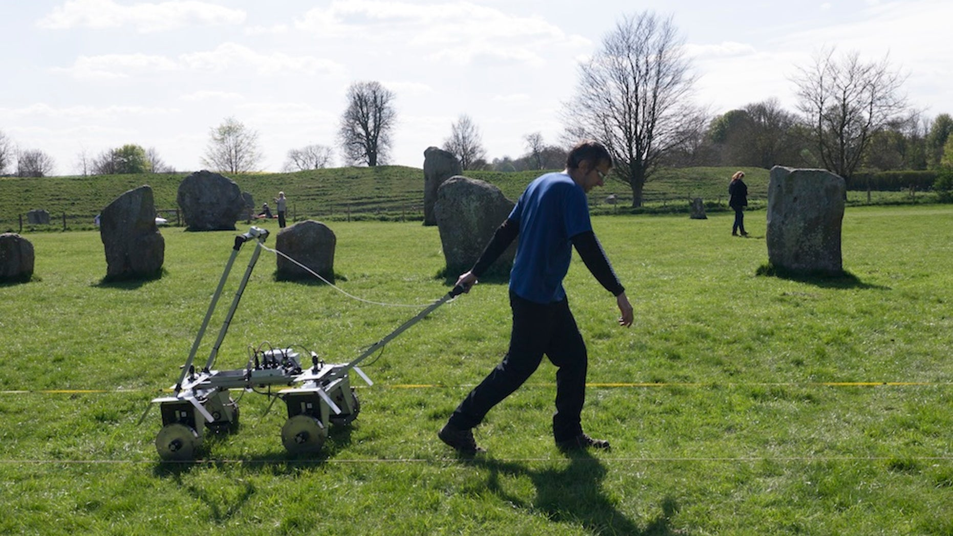 Jeremy Taylor conducts a survey of soil resistance around Avebury Circle. The new data has revealed that hidden beneath the world's largest prehistoric stone circle lies a buried square stone monument, whose purpose is shrouded in mystery.