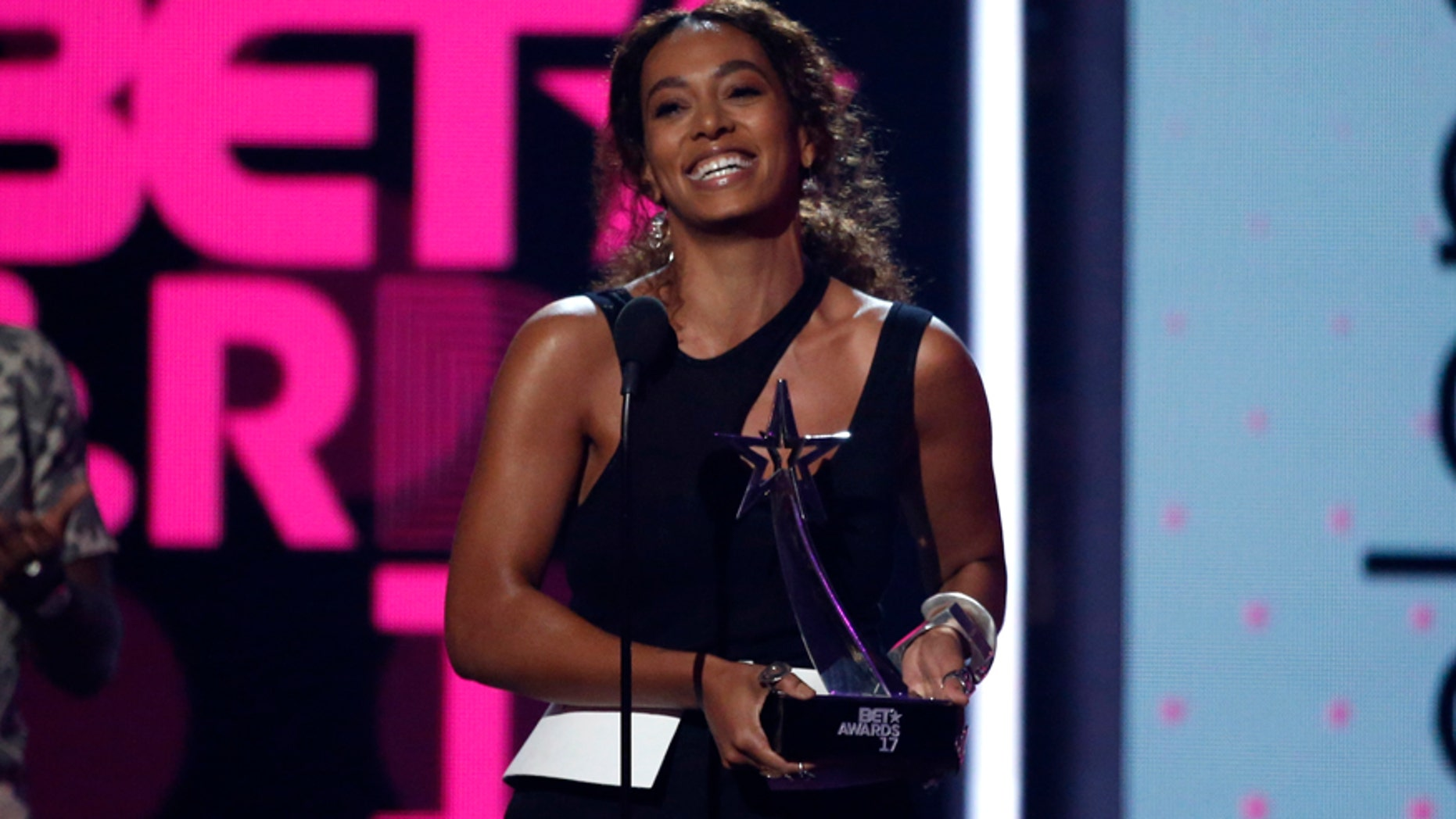 Solange Knowles opens up about her struggles with autonomic disorder in a new post. Here the singer accepts an award at the BET Awards in Los Angeles, June 2017.