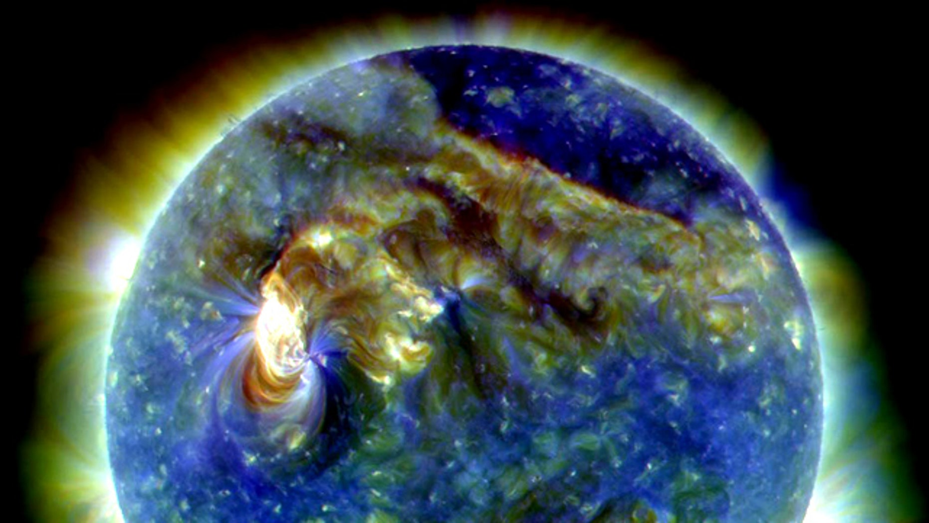 This image taken by NASA's Solar Dynamics Observatory on Aug. 1, 2010, shows a major sun storm that kicked up two massive coronal mass ejections toward Earth during an intense series of solar eruptions.