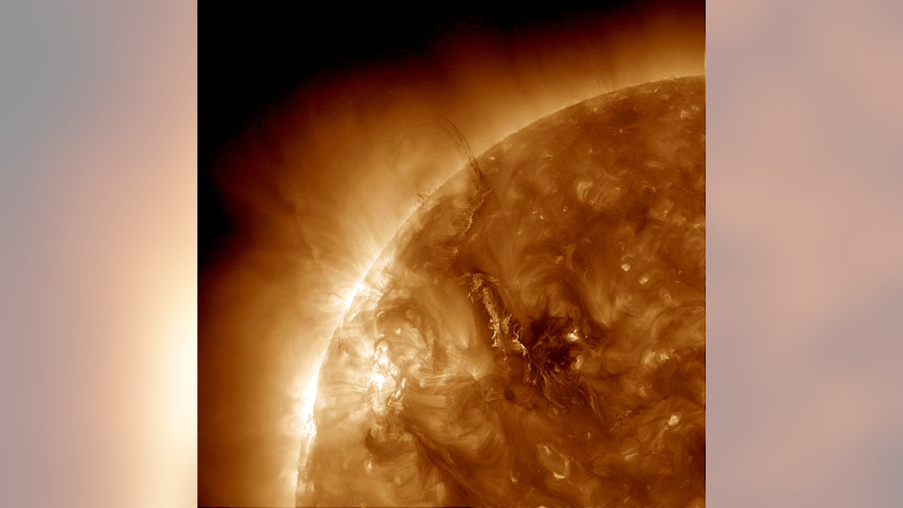 Disruption to the magnetic fields generates the coiling and spreading wave-like action on the surface of the sun seen here. Sound waves created within the sun can reveal information about the magnetic activity that causes such prominences.