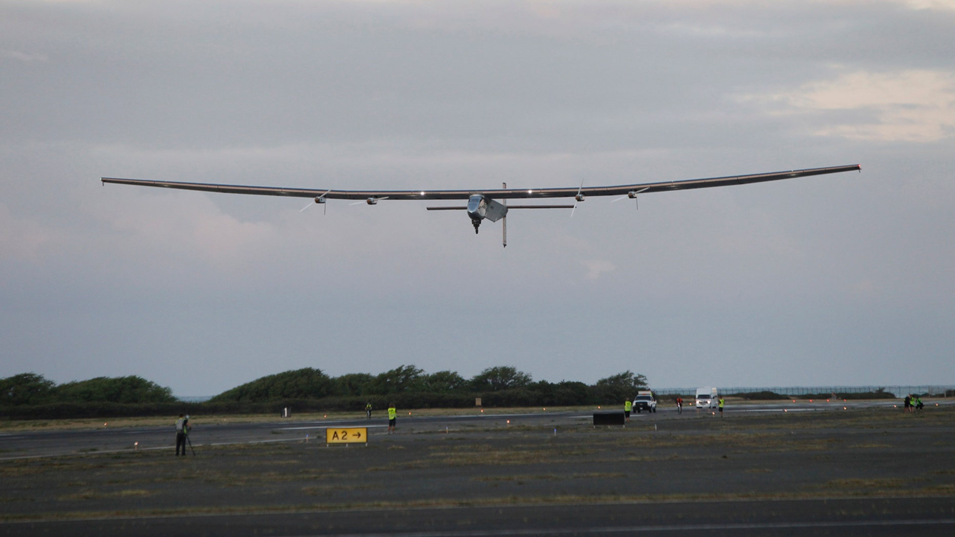 April 21, 2016: The Solar Impulse 2 solar plane lifts off at the Kalaeloa Airport in Kapolei, Hawaii. The solar plane will fly a two-and-a-half day journey to Northern California.