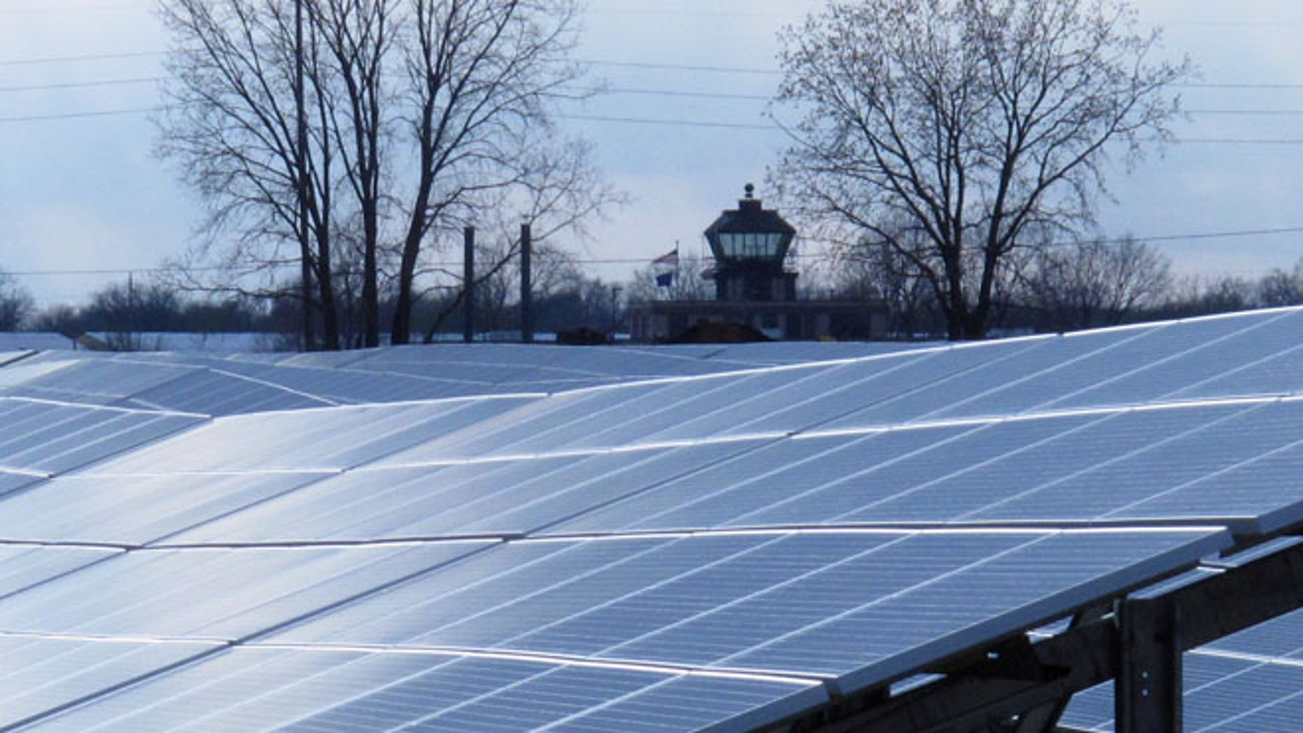 April 15, 2013: Sunlight streams onto the 43-acre Maywood Solar Farm.