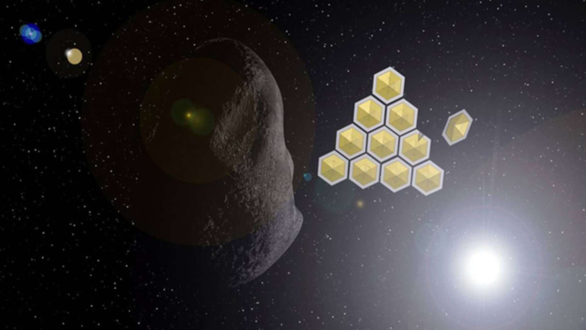 An illustration of how solar sails might help deflect the asteroid Apophis.