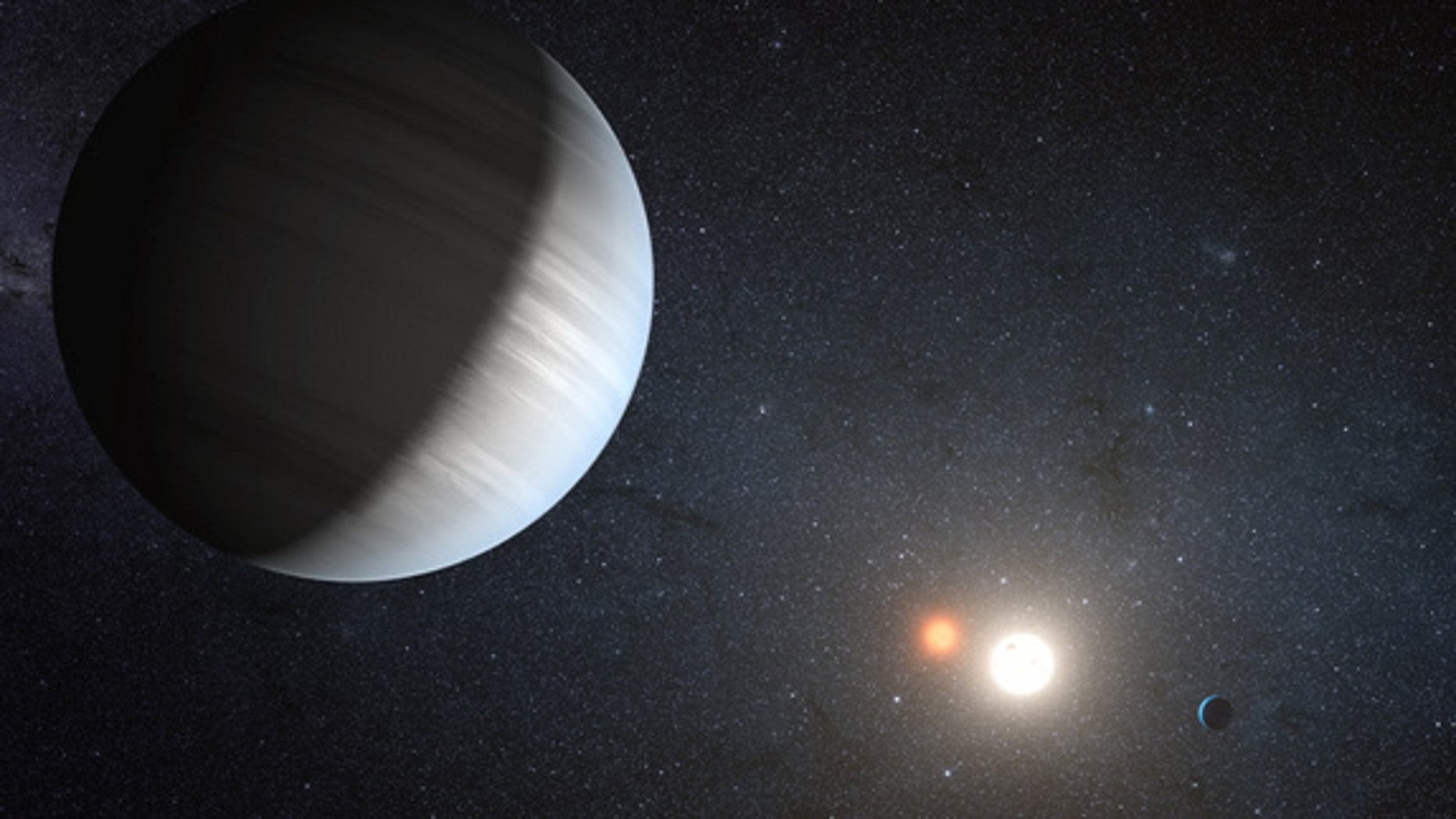 "An artist's illustration of the alien solar system Kepler-47, a twin star system that is home to two planets. The planets have two suns like the fictional planet Tatooine in the ""Star Wars"" universe."