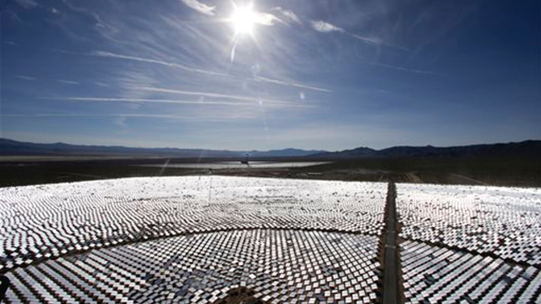 Feb. 11, 2014: Some of the 300,000 computer-controlled mirrors, each about 7 feet high and 10 feet wide, reflect sunlight to boilers that sit on 459-foot towers. The sun's power is used to heat water in the boilers' tubes and make steam, which in turn drives turbines to create electricity in Primm, Nev.