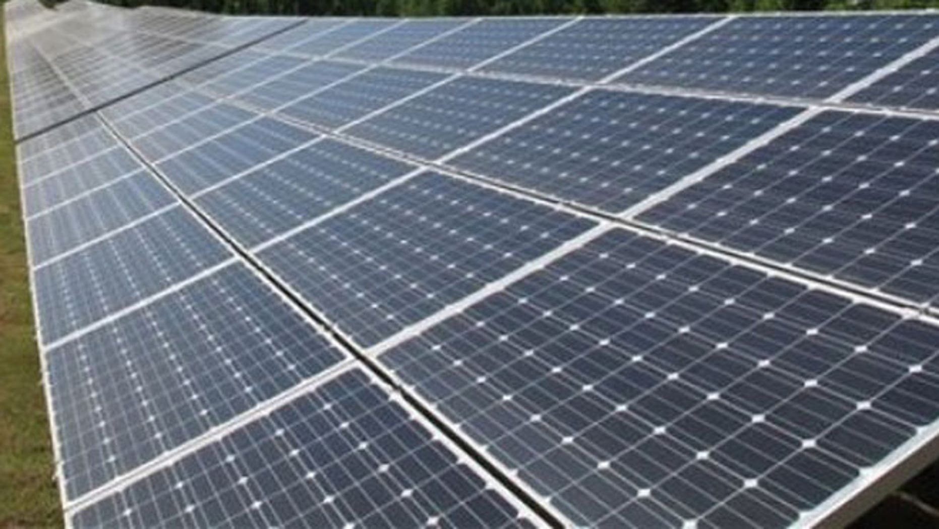This April 12, 2012, file photo shows panels containing solar cells at a Solar Farm in Tennessee.