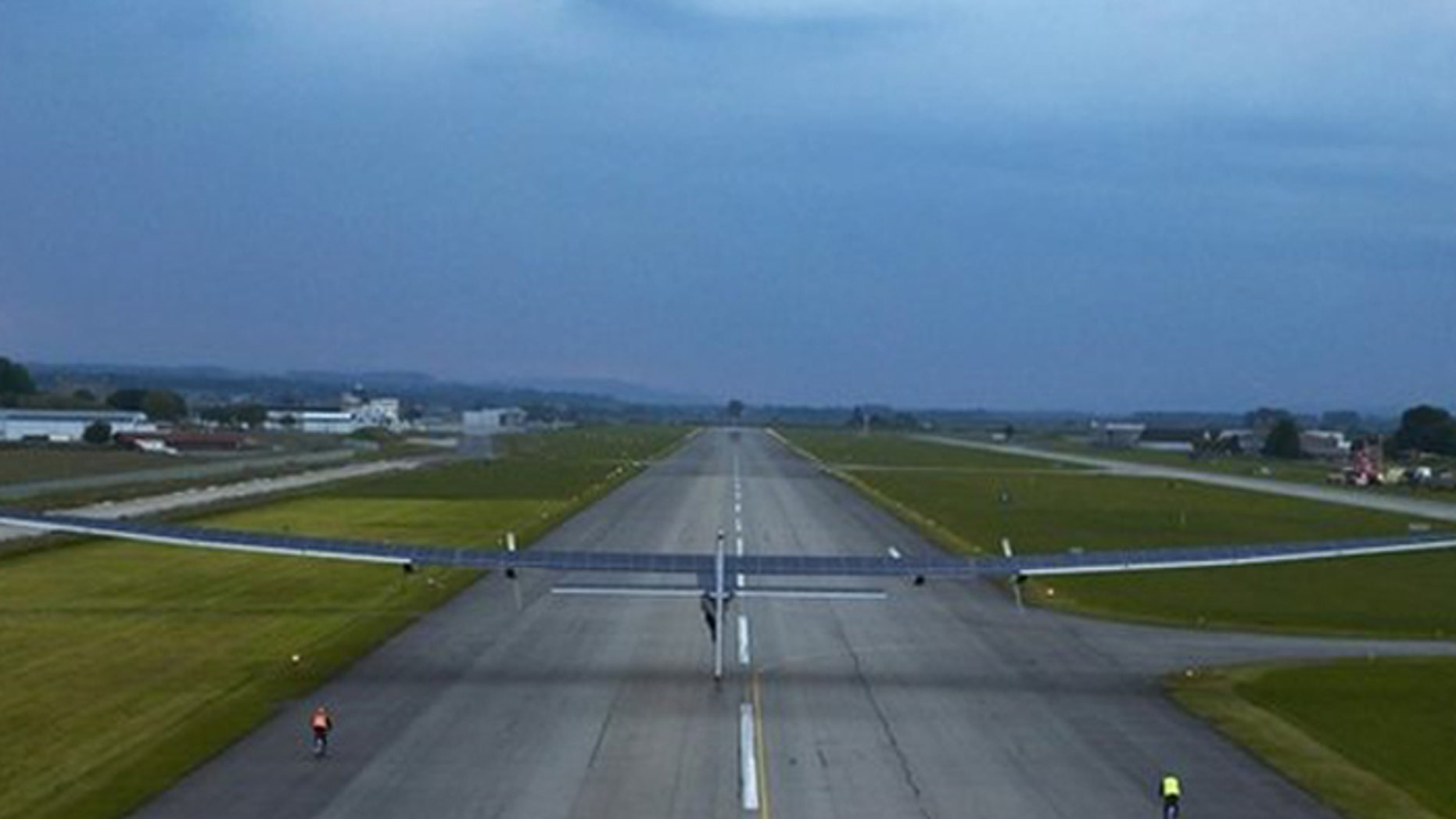 The solar-powered plane's wingspan is larger than a 747's. (REUTERS)