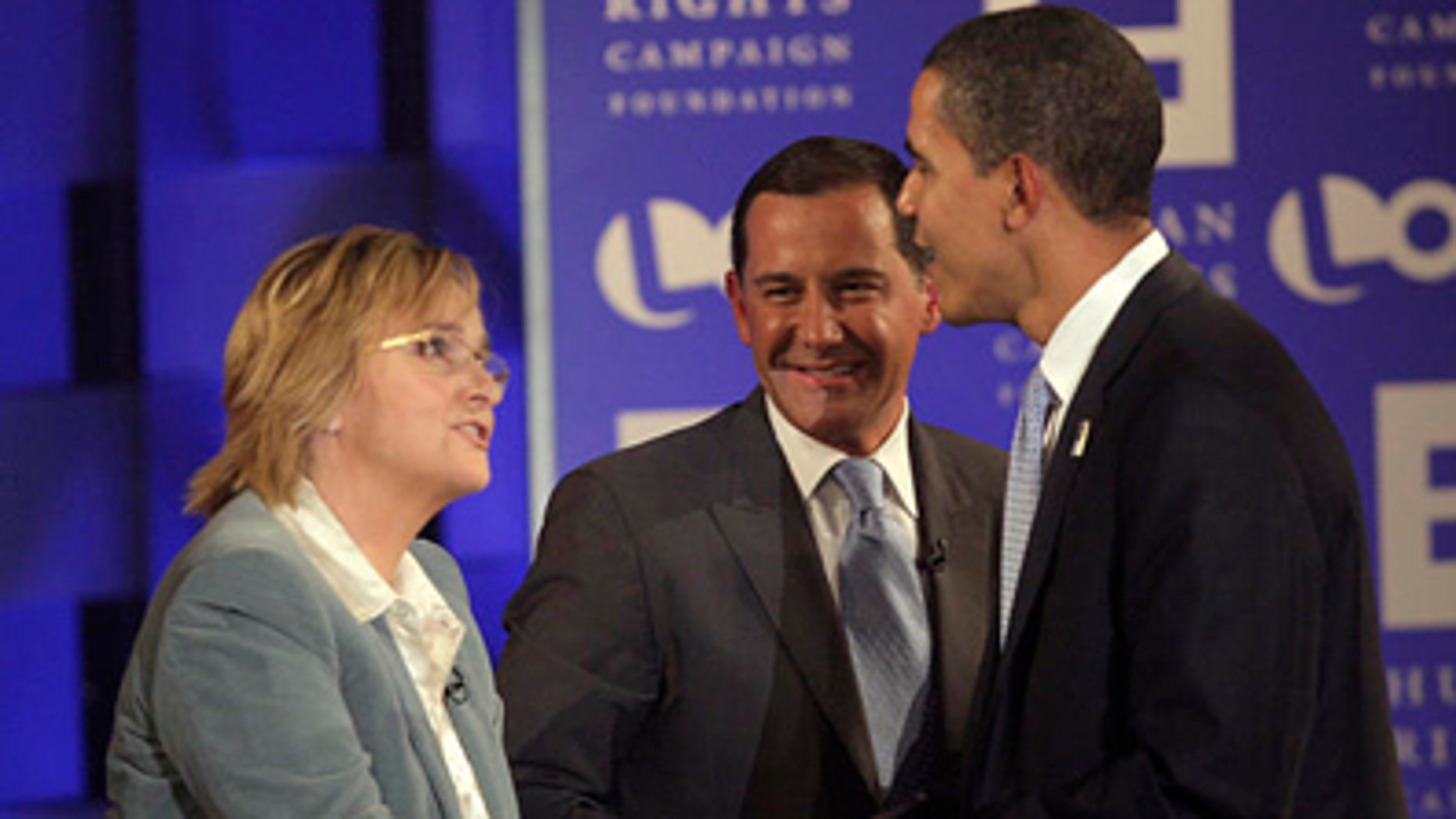 Aug. 9, 2007: Presidential hopeful Barack Obama speaks to singer Melissa Etheridge and Human Rights Campaign President Joe Solmonese at a presidential forum focused on lesbian, gay, bisexual and transgender issues co-sponsored by cable channel Logo and the HRC Foundation.