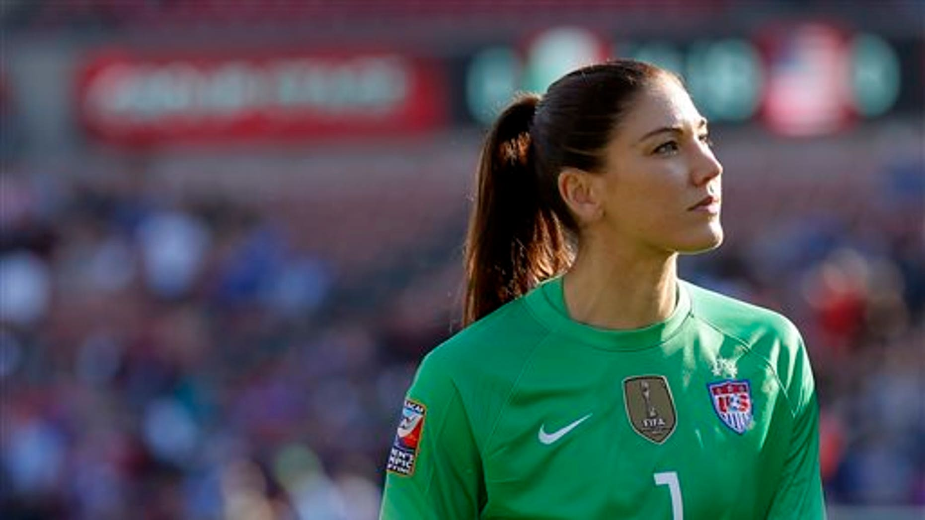 "American athlete Hope Solo, goalie for the U.S. women's national soccer team, says, regarding Zika virus fears, ""All I can do is speak for myself. If the Olympics were today, I would not go."" (AP Photo/Tony Gutierrez, File)"