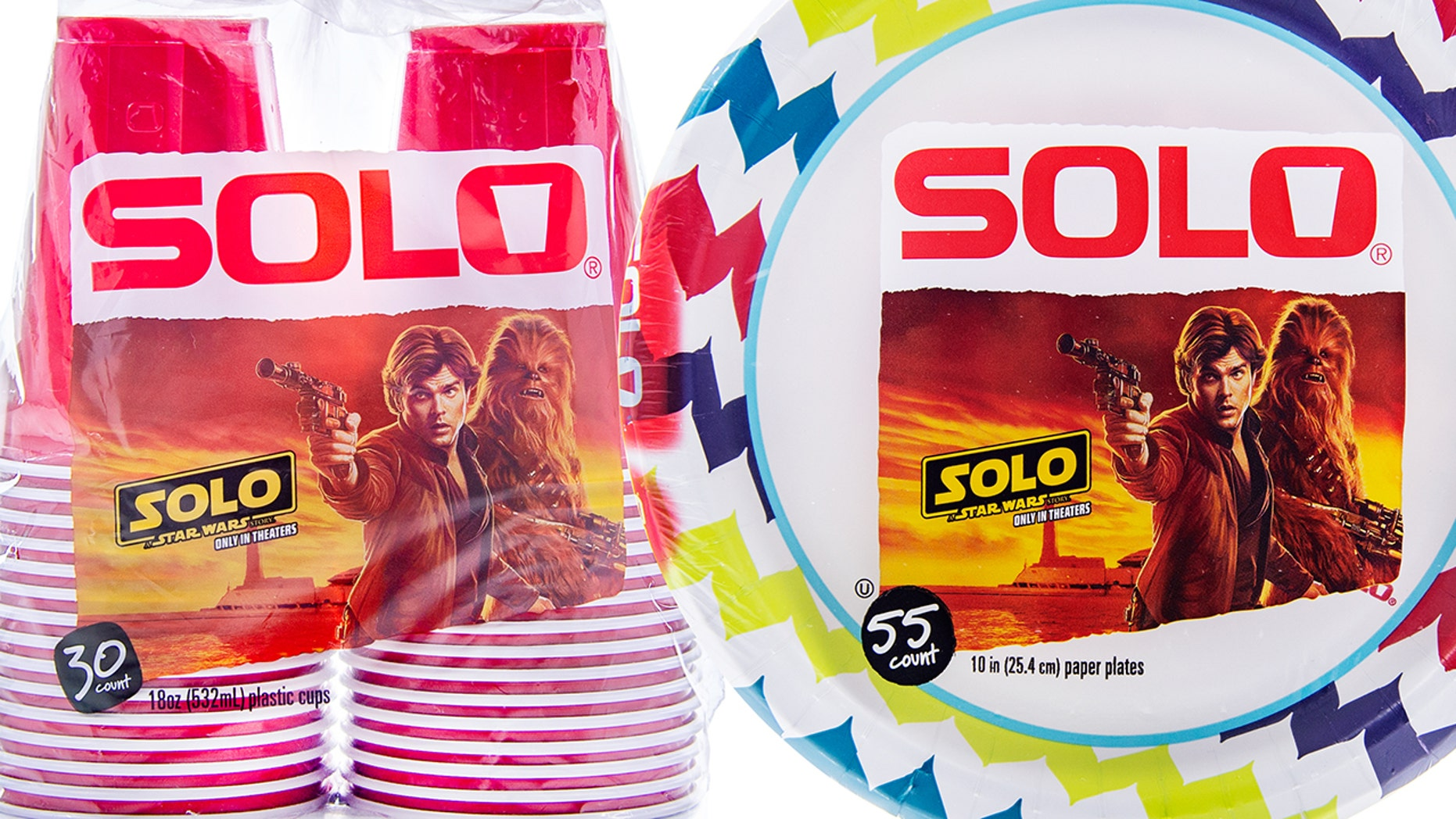 """The Solo Cup Company — the makers of such party staples as red cups and paper plates — has plastered the characters from """"Solo"""" all over its wares."""
