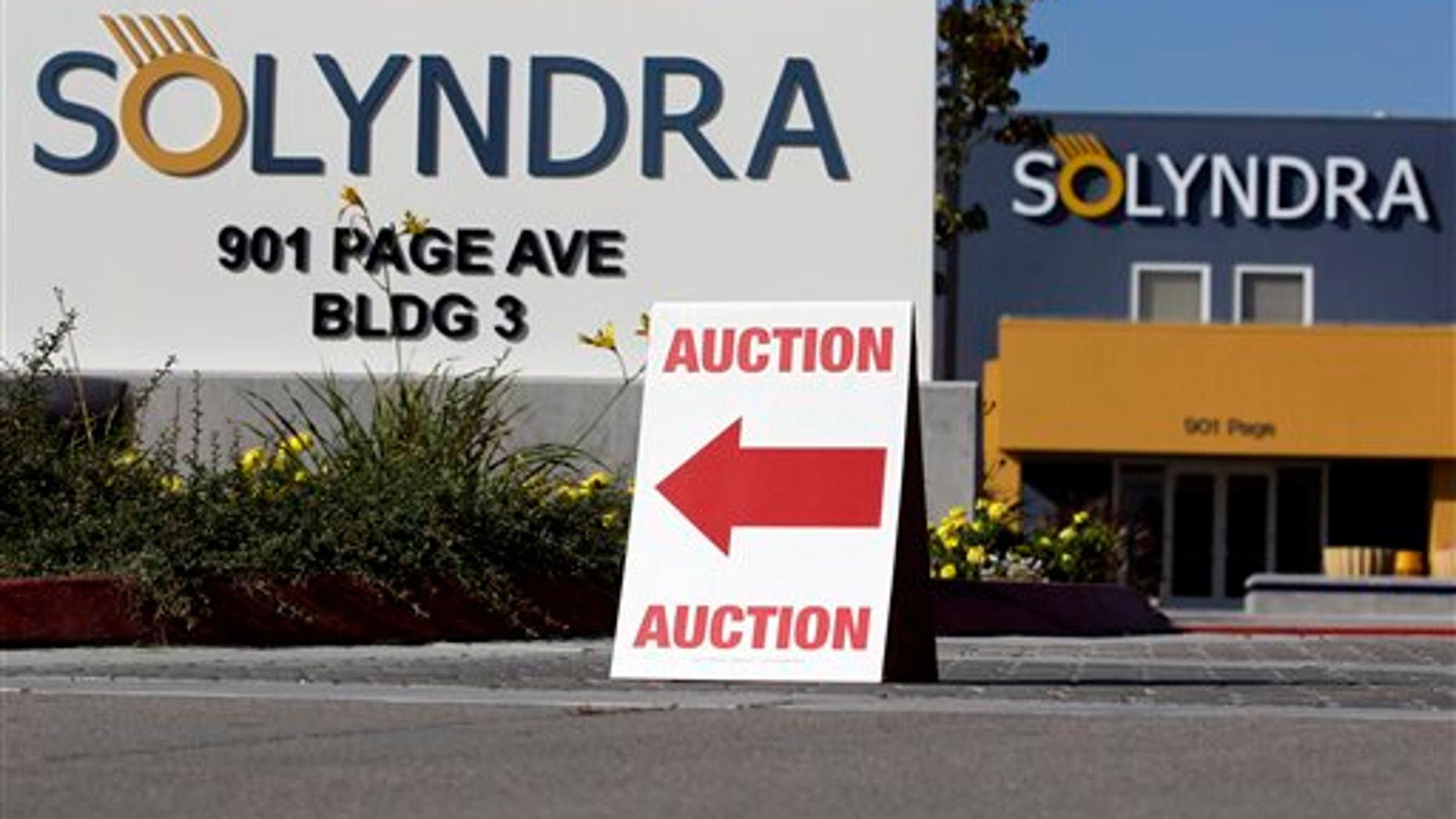 Oct. 31, 2011: An auction sign is shown at bankrupt Solyndra headquarters in Fremont, Calif.,  before Wednesday's auction. Solyndra received a one half billion dollar loan guarantee from the government before filing for bankruptcy in Sept. 2011.