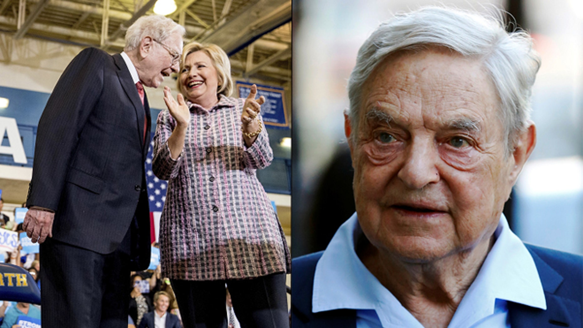 At left, Warren Buffett with Hillary Clinton; at right, George Soros (AP/Reuters)