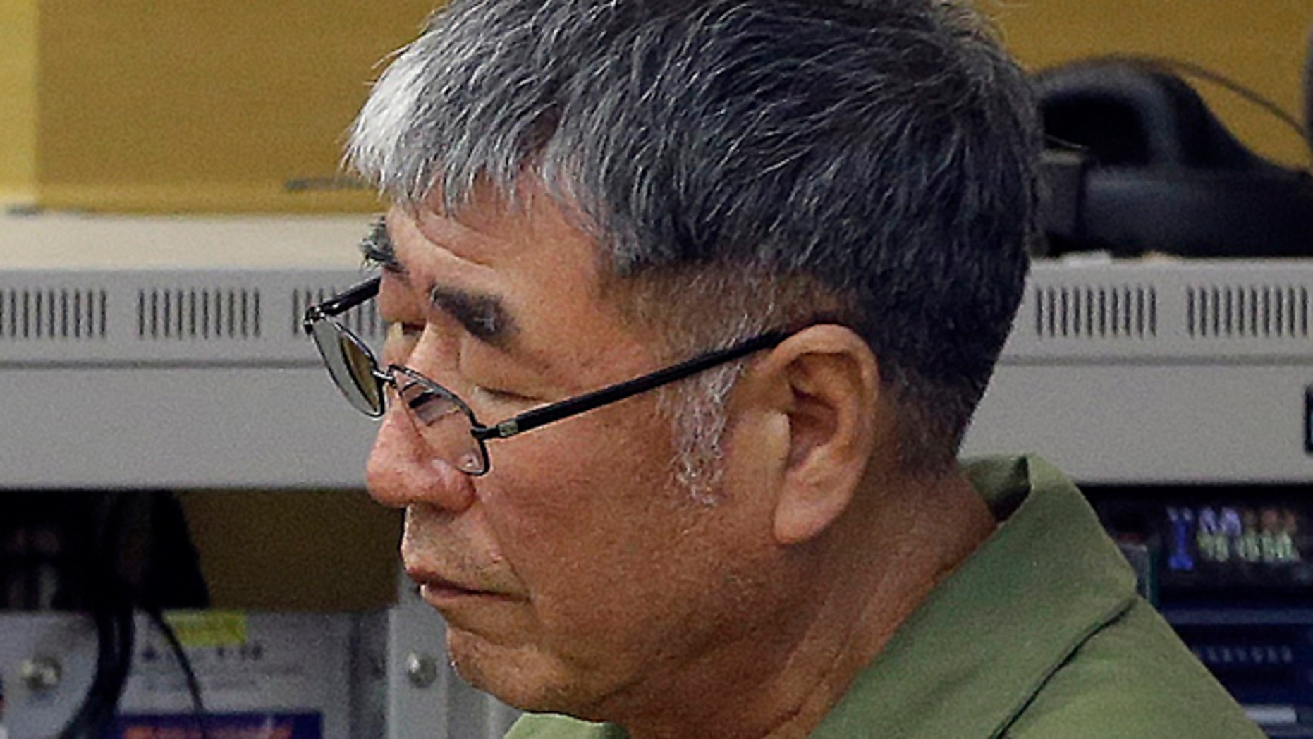 April 28, 2015: Lee Joon-seok, the captain of the sunken South Korean ferry Sewol, sits for verdicts at Gwangju High Court in Gwangju, South Korea.