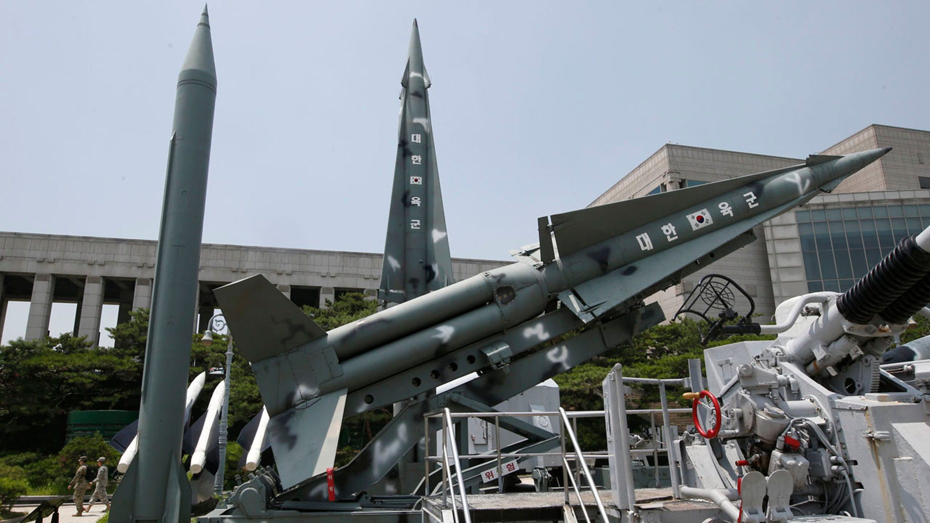 July 8, 2016: South Korea's mock missiles are displayed next to North Korea's mock Scud-B, left, at the Korea War Memorial Museum in Seoul.