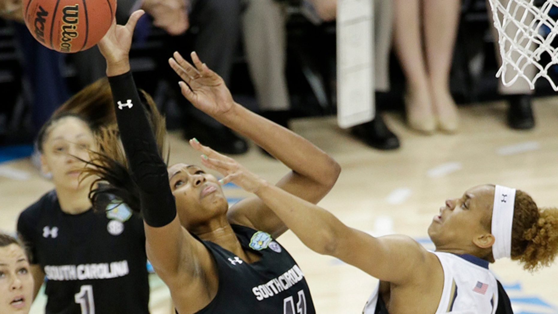April 5, 2015: South Carolina center Alaina Coates (41) shoots against Notre Dame forward Brianna Turner (11) during the first half of the NCAA Women's Final Four tournament college basketball semifinal game.