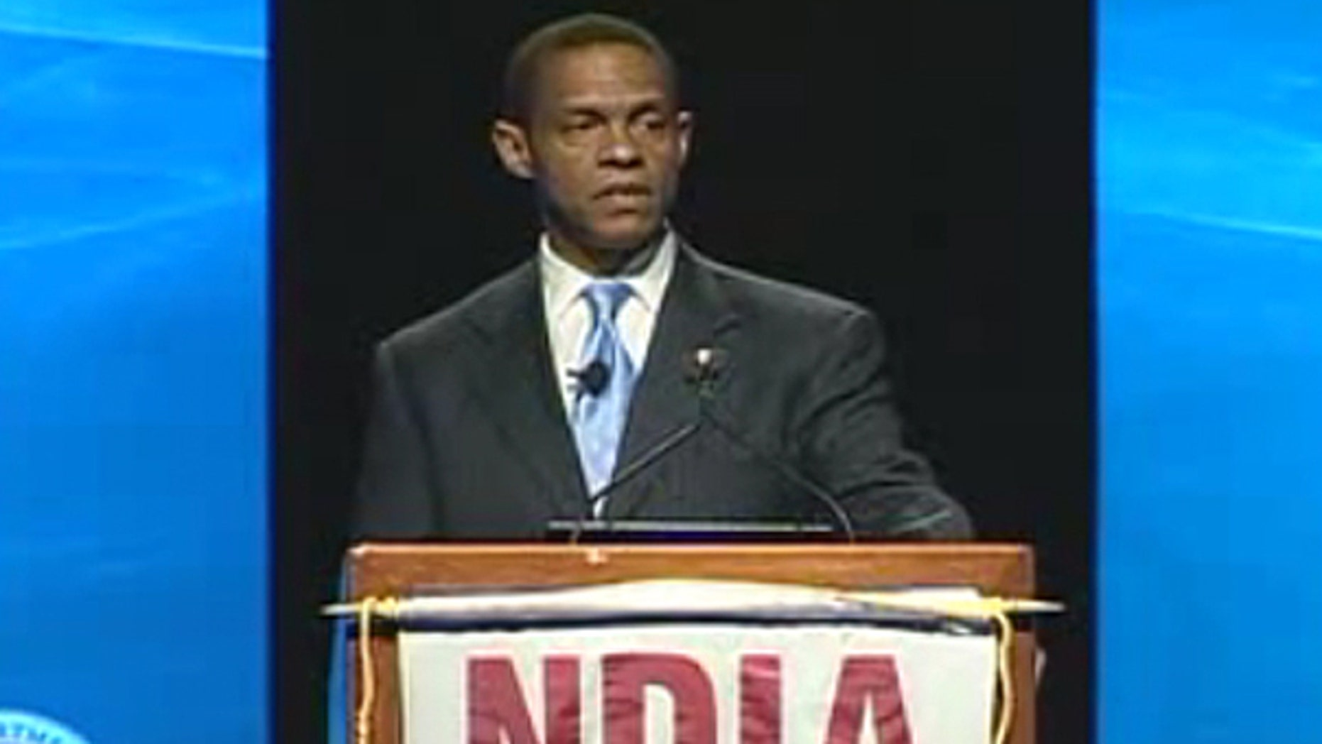 TSA Administrator Nominee Erroll Southers is shown here addressing a Department of Homeland Security conference in April 2008. (DHS)