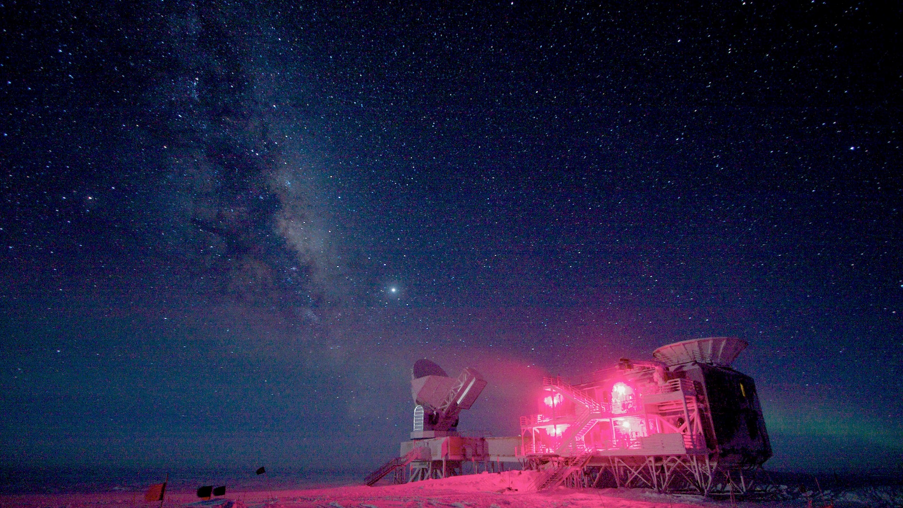 The South Pole Telescope and the BICEP Telescope at Amundsen-Scott South Pole Station in Aug. 2008 (REUTERS/Keith Vanderlinde/National Science Foundation/Handout)