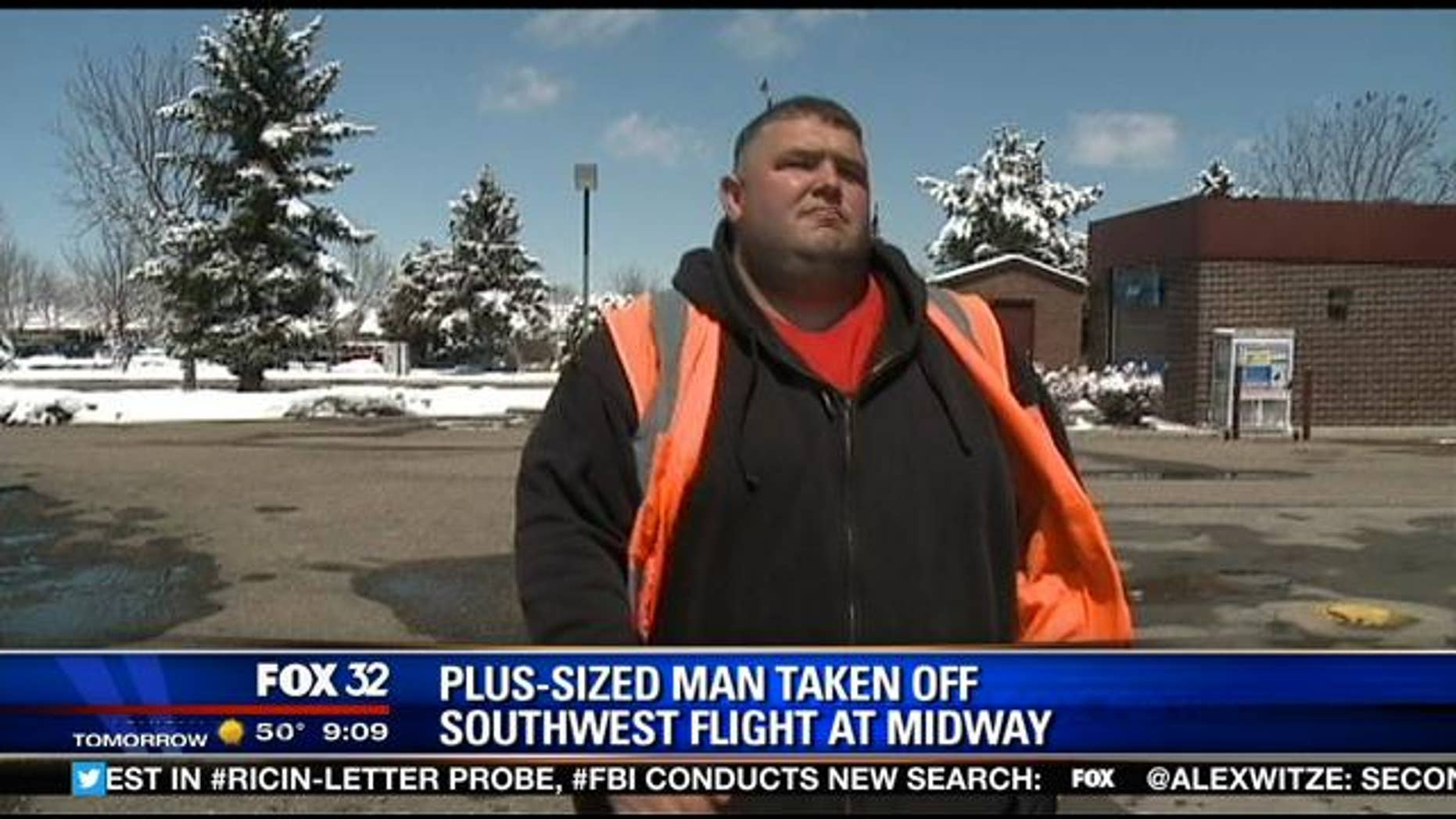 Matthew Harper claims he was kicked off a Southwest Airlines flight for being overweight.