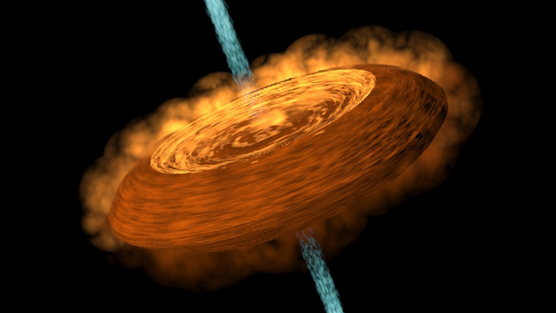 An illustration of a hamburger-shaped accretion disk feeding a young protostar, and the jets of gaseous material ejected from the young star's north and south poles.