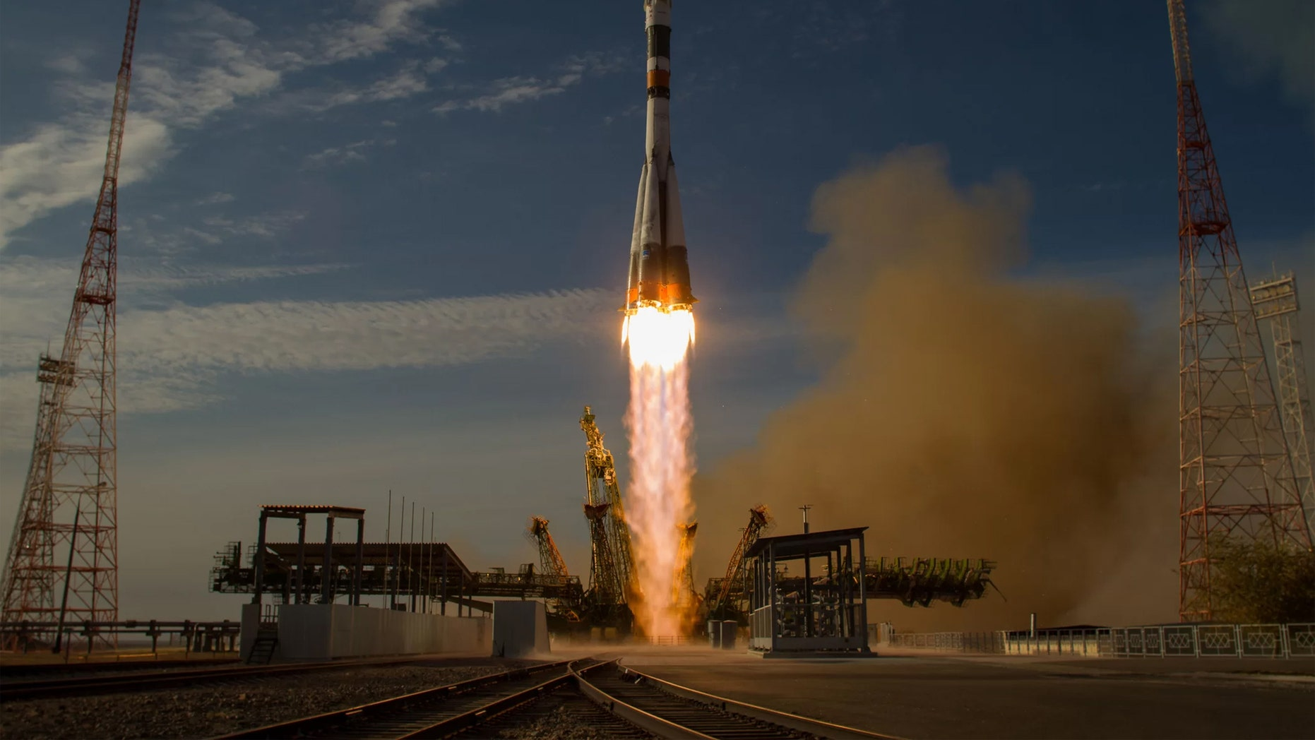 A Russian Soyuz spacecraft launches from the Baikonur Cosmodrome in Kazakhstan, carrying new crewmembers toward the International Space Station in 2012. Credit: Bill Ingalls/NASA