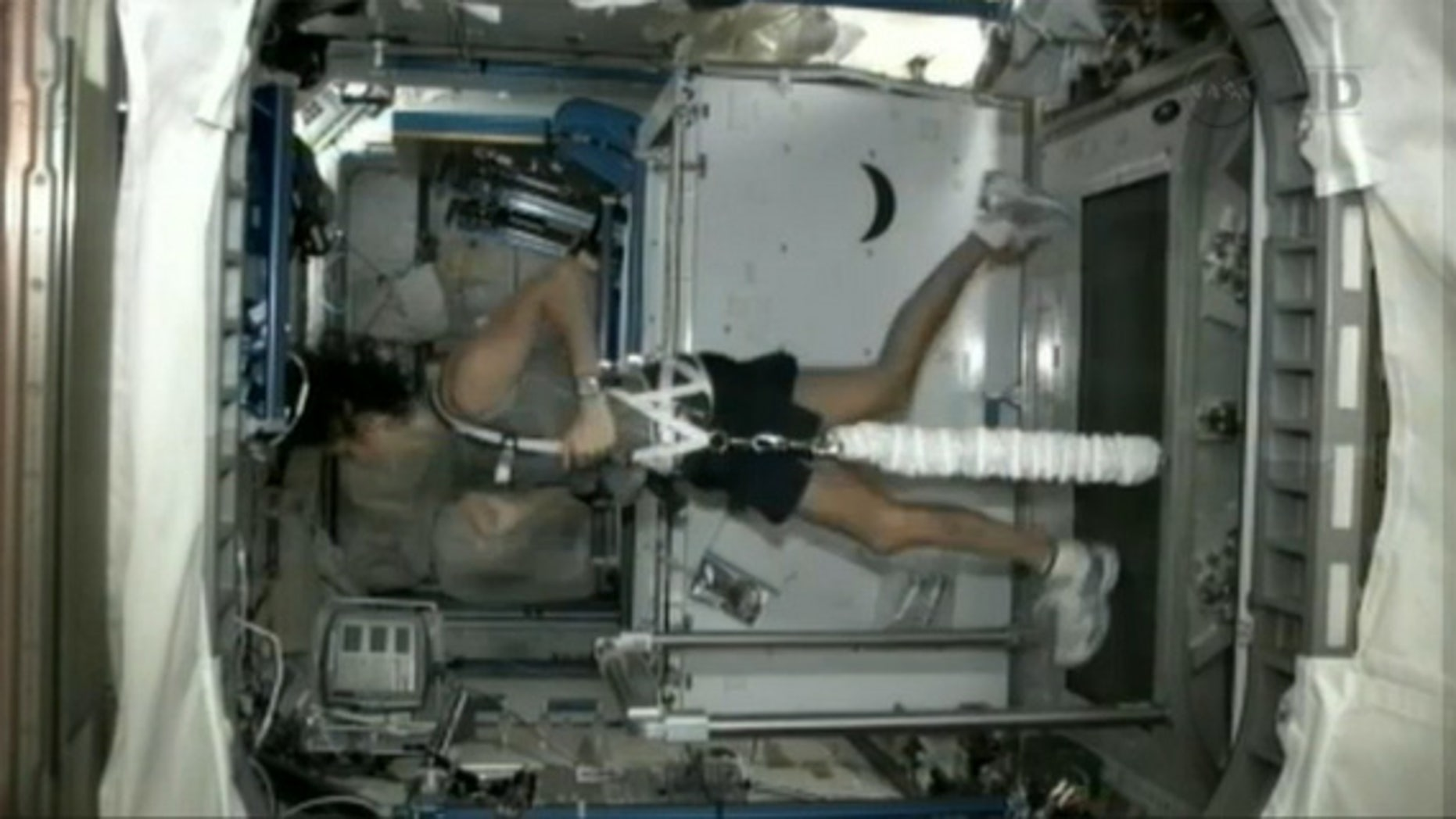NASA astronaut Sunita Williams completed a triathlon from space Sept. 16, 2012, using an orbital treadmill to complete the running portion, a stationary bicycle for the biking leg, and a resistance machine to simulate swimming.