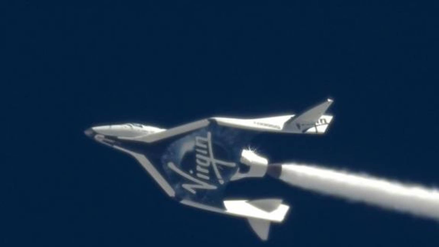 For the first time ever, oxidizer flows through SpaceShipTwo's rocket nozzle in flight, successfully demonstrating key components of the system. The April 12, 2013 test flight was a key milestone in advance of SpaceShipTwo's first rocket powere