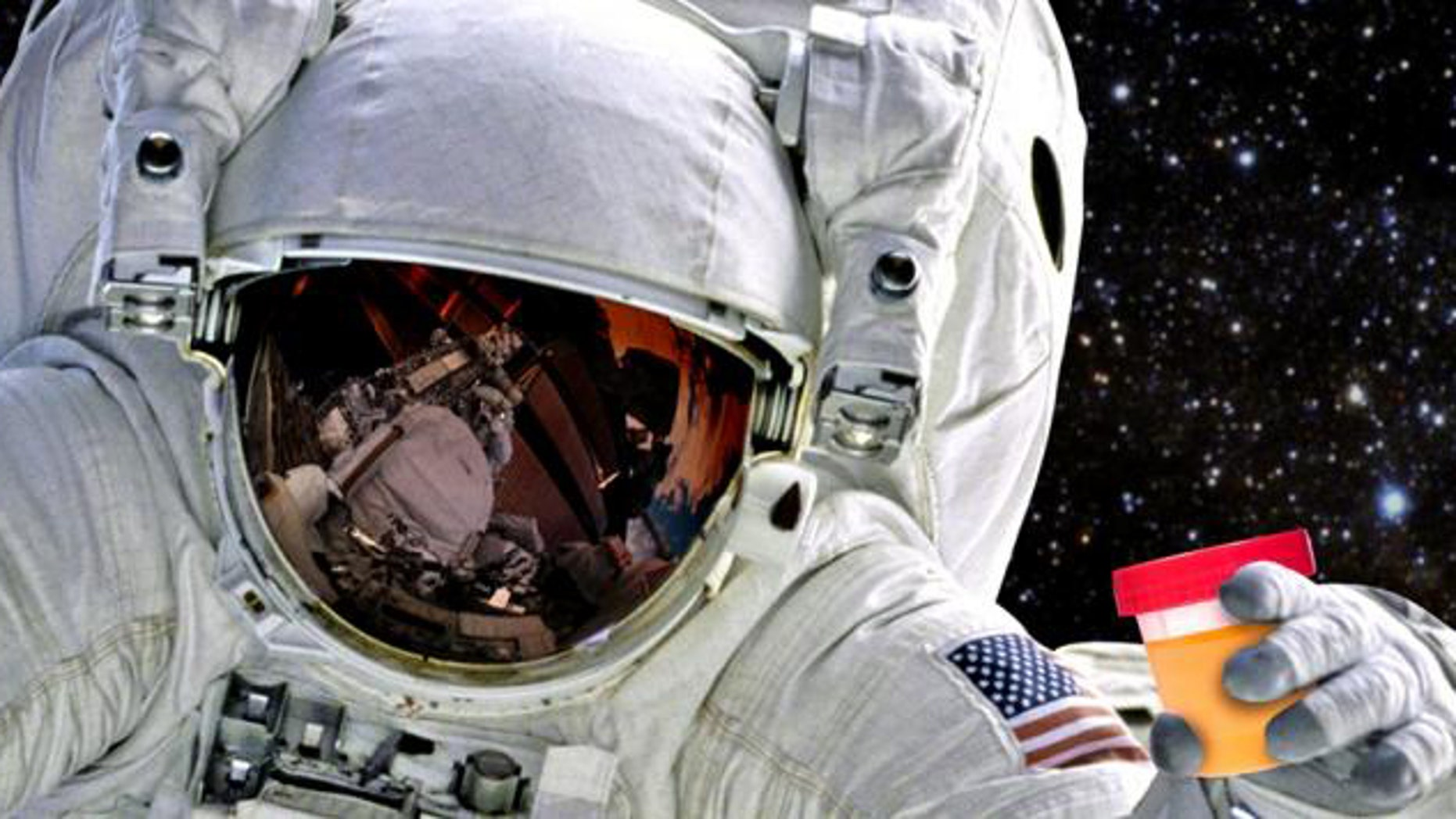 Photo illustration - astronauts could someday benefit from recycling human waste on long space trips (American Chemical Society).