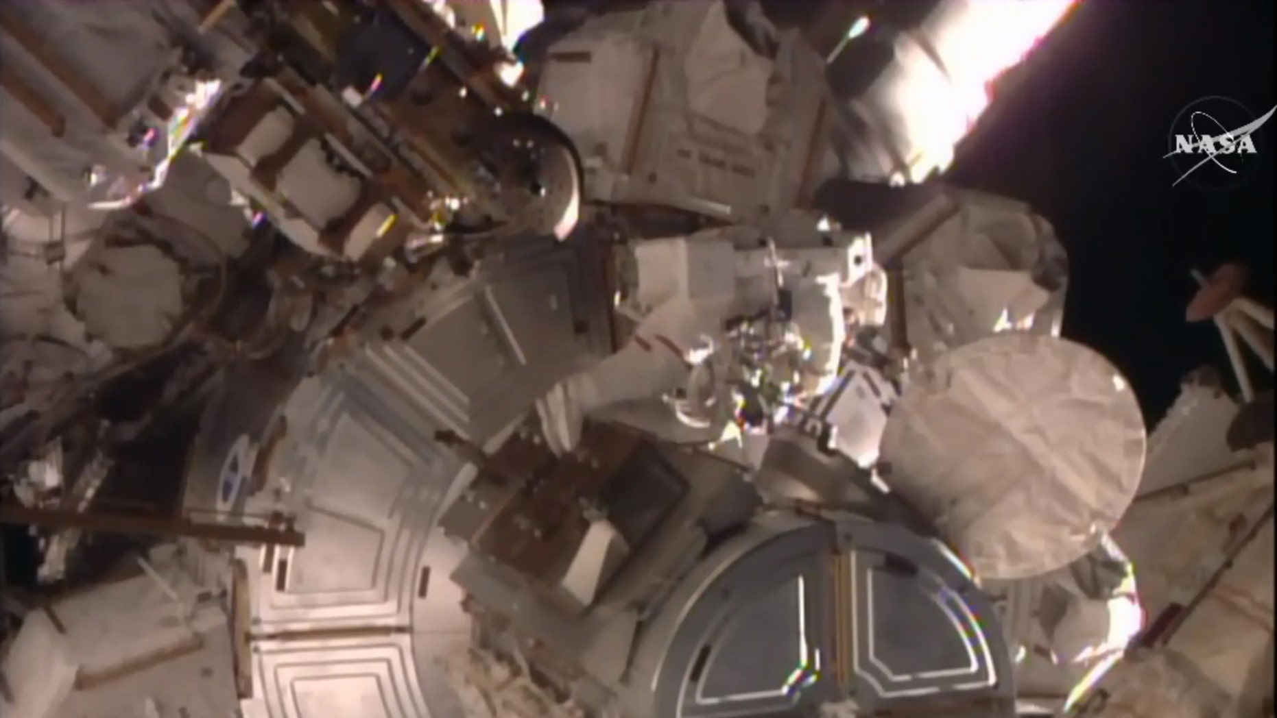 File photo - In this frame grab from video provided by NASA-TV, U.S. astronaut Timothy Kopra emerges from the International Space Station, Friday, Jan. 15, 2016. (NASA-TV via AP)