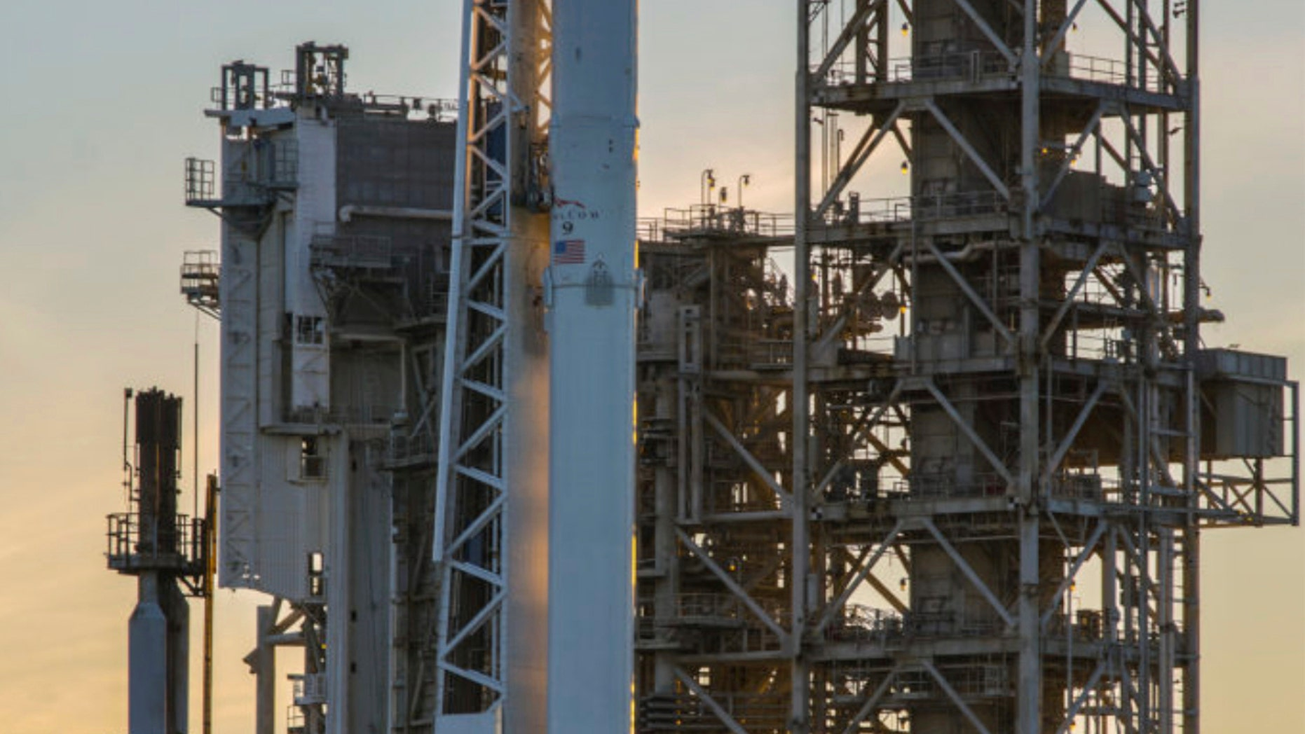 Space X Falcon9 rocket on launch pad 39A at the Kennedy Space Center Saturday.