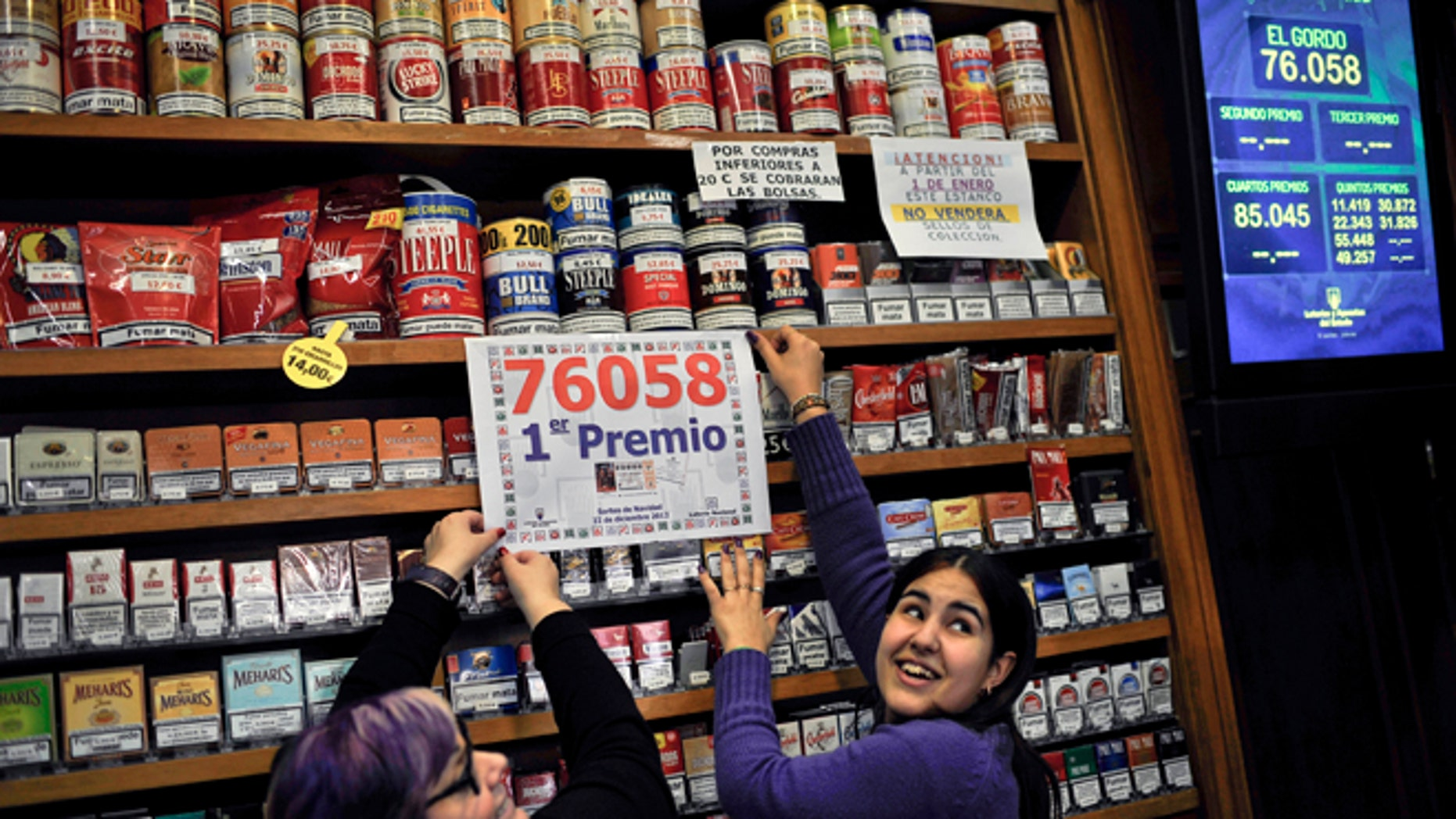 "Dec. 22, 2012: Laura Leon, 30, right, and Pili Medina, 48,  who sold one of the winning lottery tickets with the numbers, 76058, of the top prize of Spain's Christmas lottery known as ""El Gordo,"" celebrates in her lottery shop in the small town of Tudela, northern Spain."