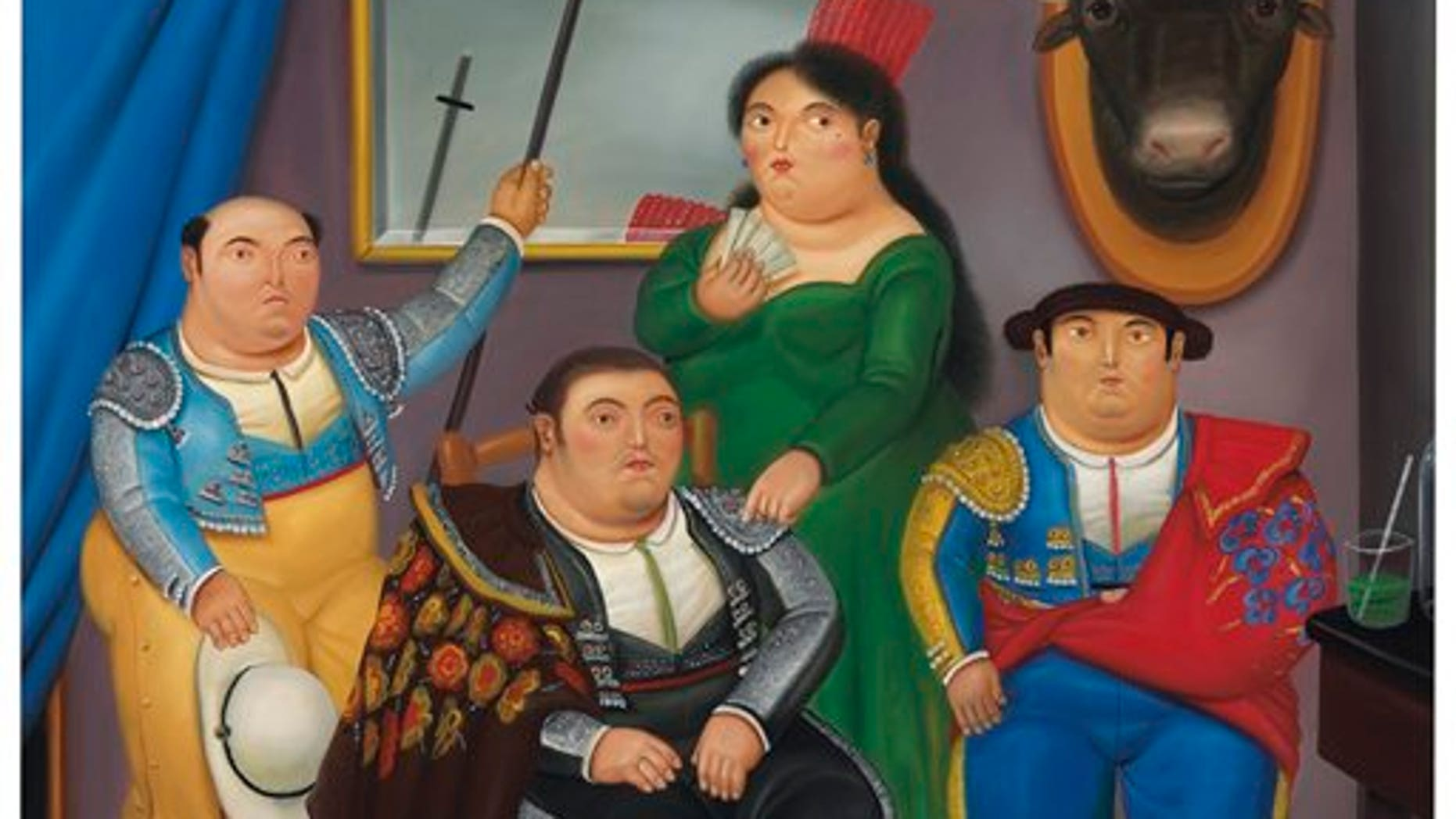 "In this publicity image released by Christie's, ""Family Scene,"" an oil on canvas by Colombian artist Fernando Botero is shown. (AP Photo/Christie's)"