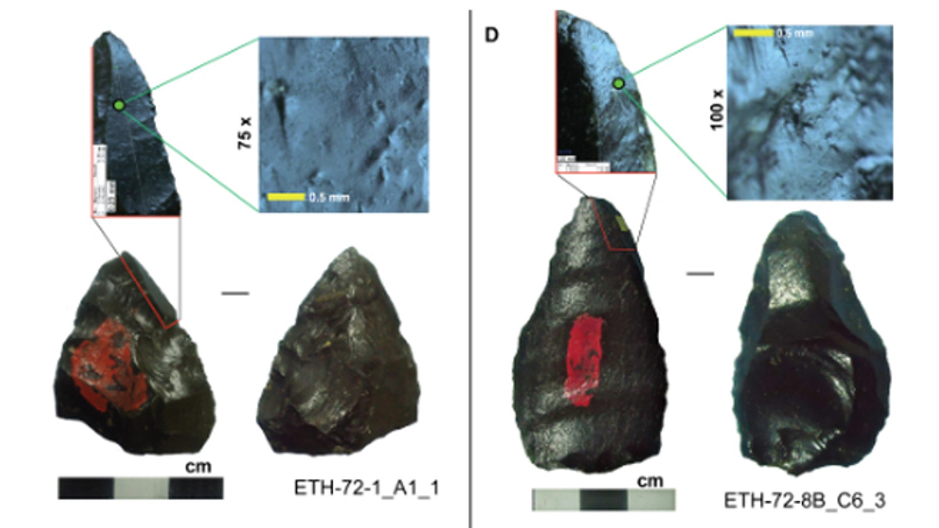 A sample of Gademotta pointed artifacts exhibiting micro- and macrofracture features indicative of projectile weaponry.