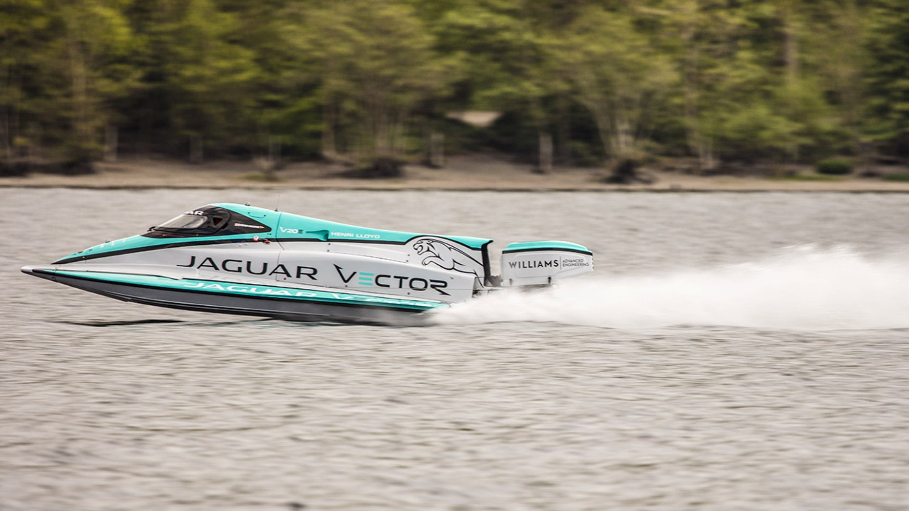 A Jaguar Vector V20E speedboat has broken the previous record to become the world's fastest electric speedboat after it 88mph on Coniston Water in the Lake District. See SWNS story SWELECTRIC; Water and electricity mixed perfectly after a state-of-the-art battery-powered boat set a world speed record on a British lake.  The unique Jaguar Vector V20E is now the world's fastest electric speedboat after it 88mph on Coniston Water in the Lake District.  Over two legs, Jaguar Vector co-founder and technical director Peter Dredge, averaged 88.61mph in the V20E. This smashed the previous record for an electric boat of 76.8mph, set in 2008.