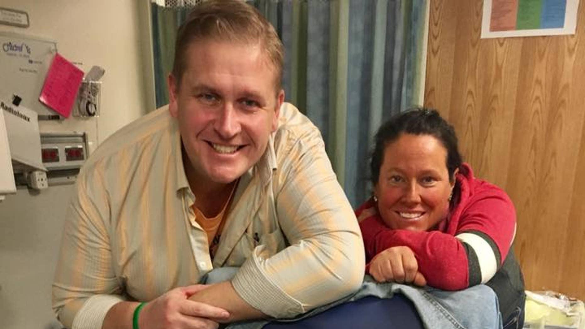 December 2016: Spencer with his dad Ken Kolman and his mom Liz Kolman at St. Louis Children's Hospital after his transplant.